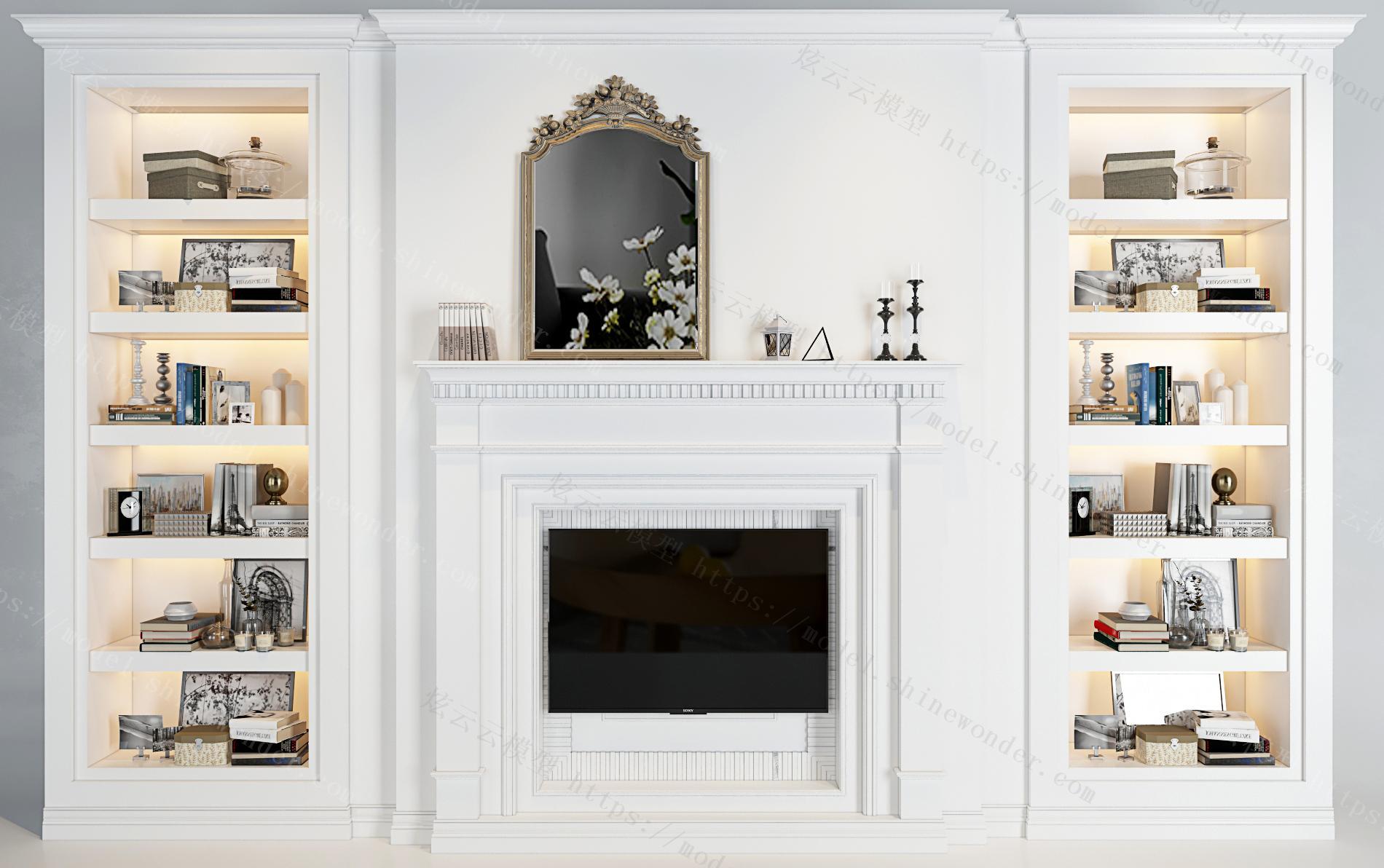 欧式电视墙装饰柜摆件组合模型