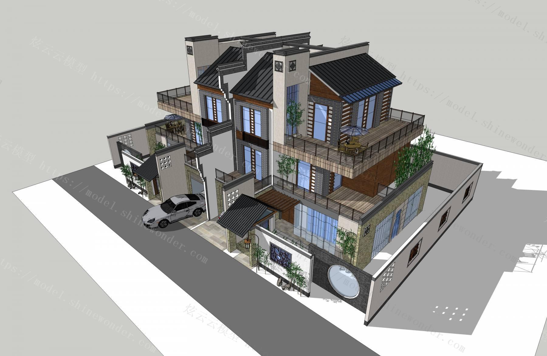 新徽派别墅建筑模型模型
