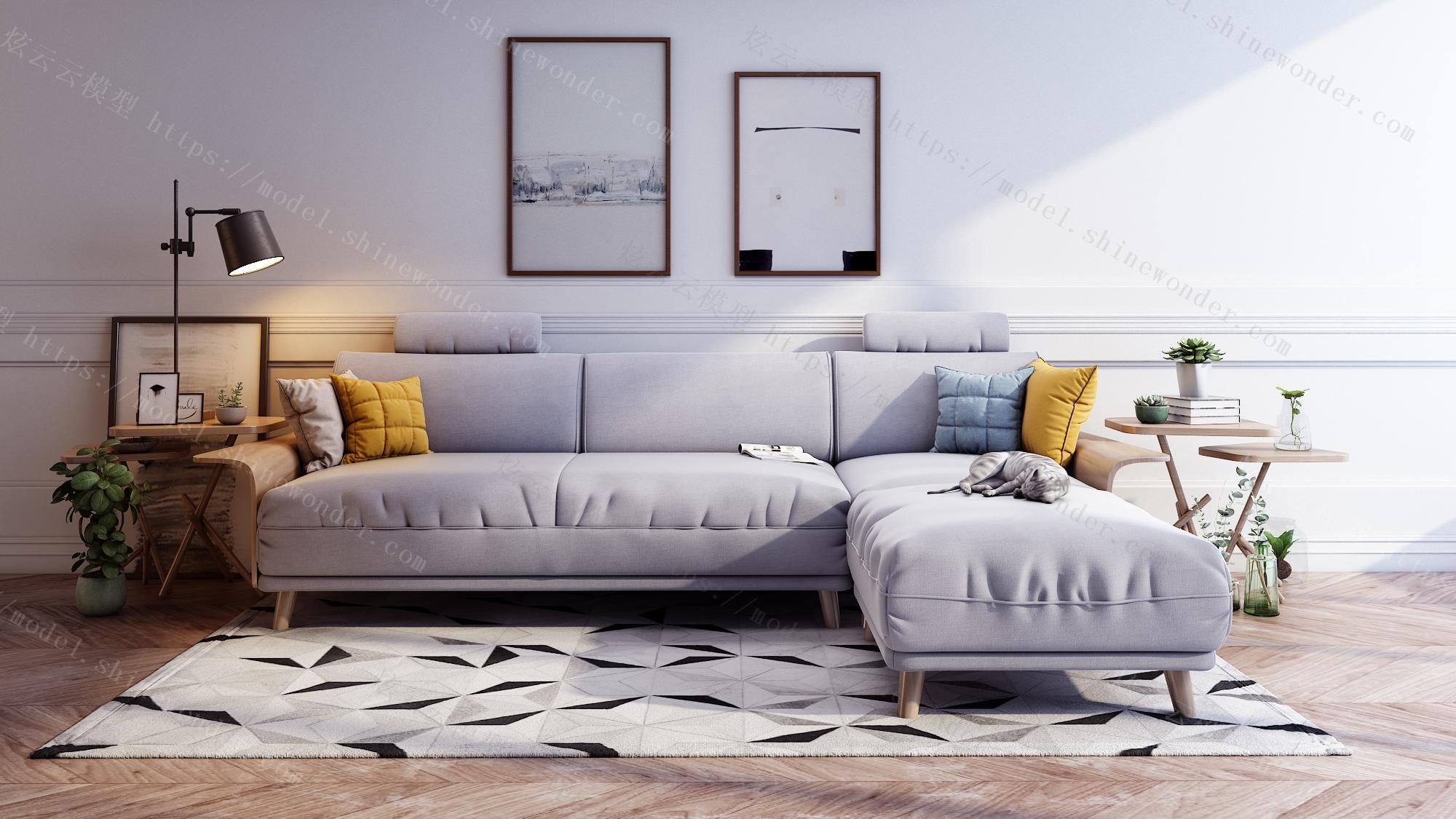 北欧风格布艺沙发组合客厅整装小户型三人位实木框沙发RAV1K灯光模型