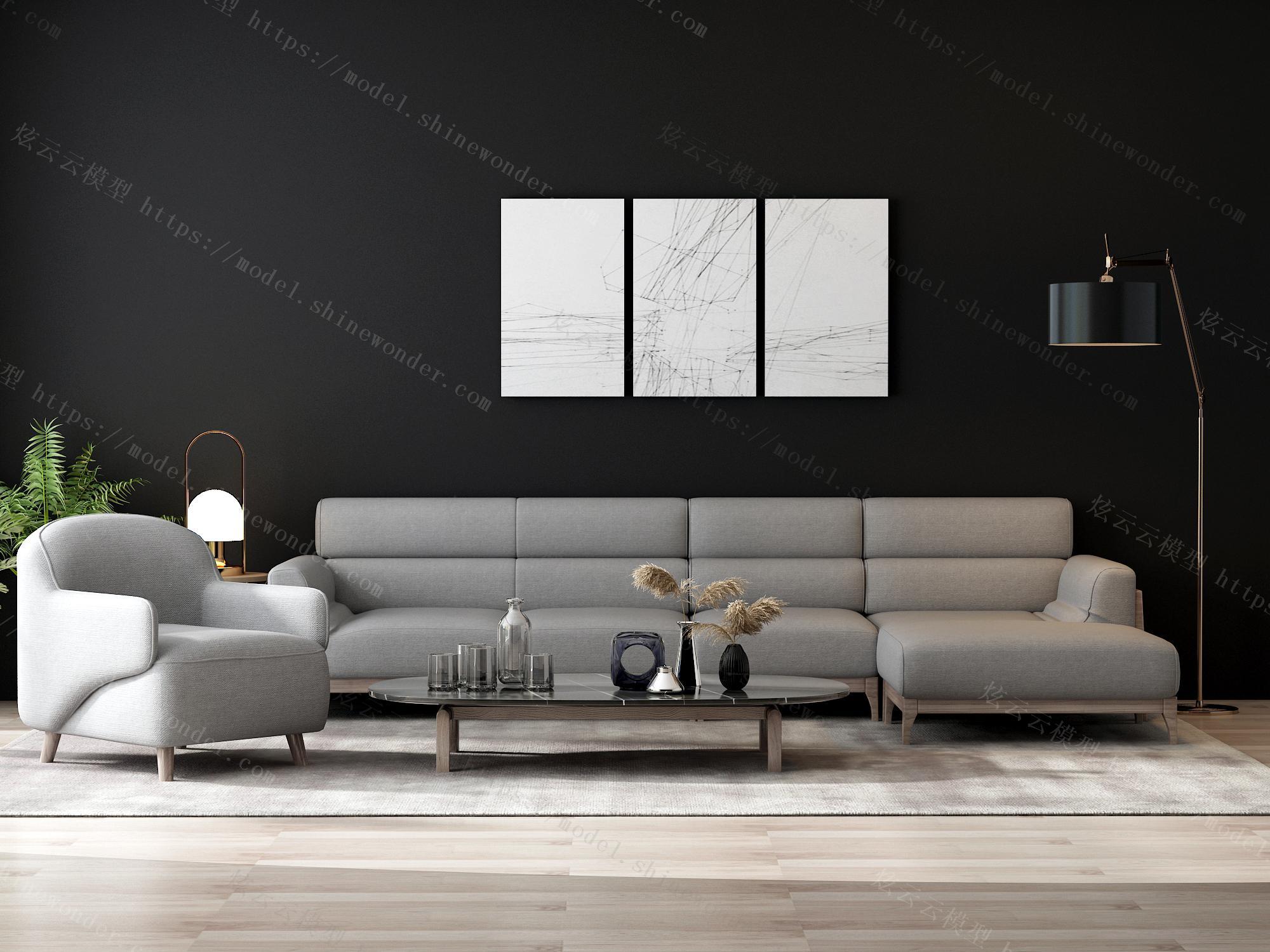 北欧家具套装组合大小户型实木客厅现代简约布艺沙发1014模型
