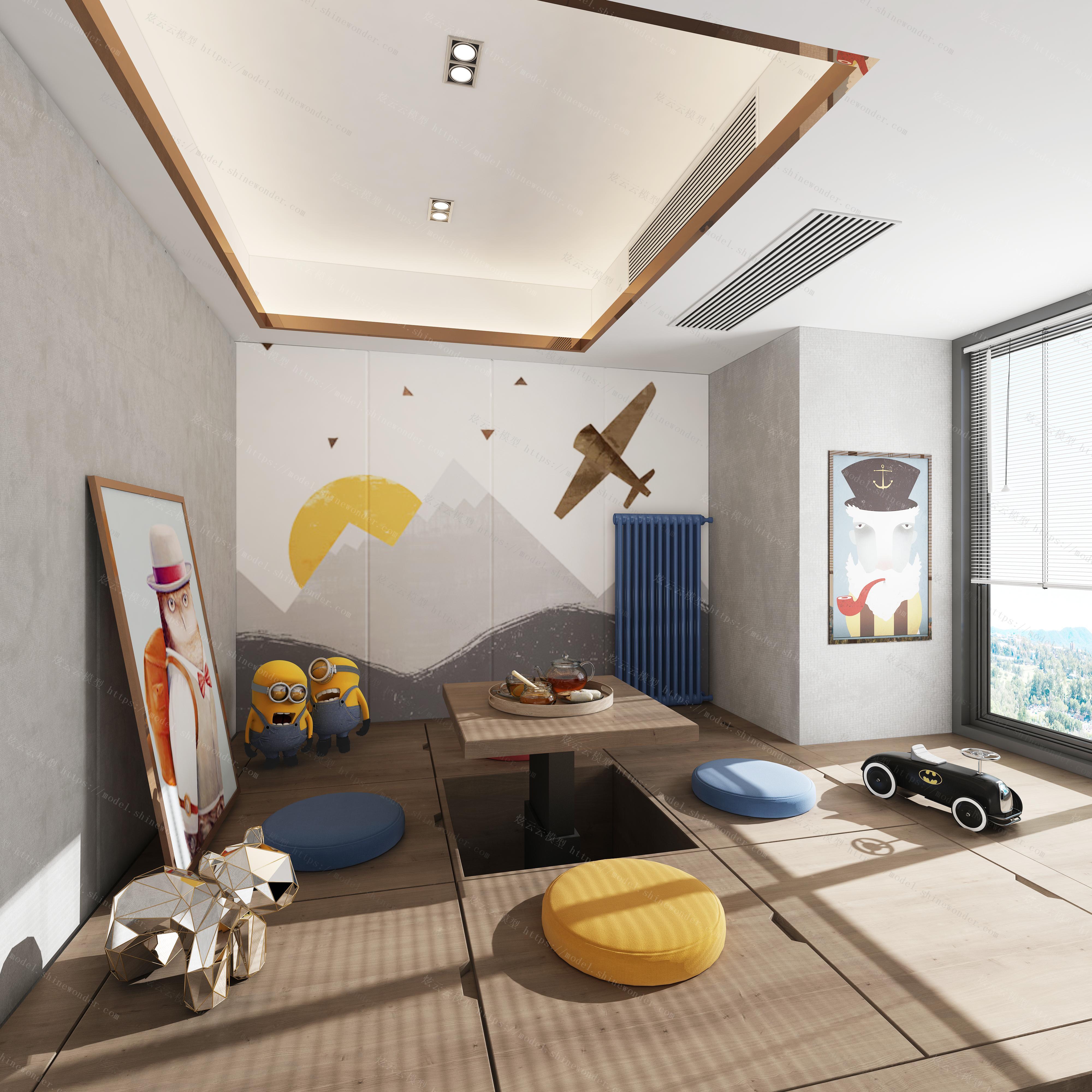 现代男孩房儿童房模型
