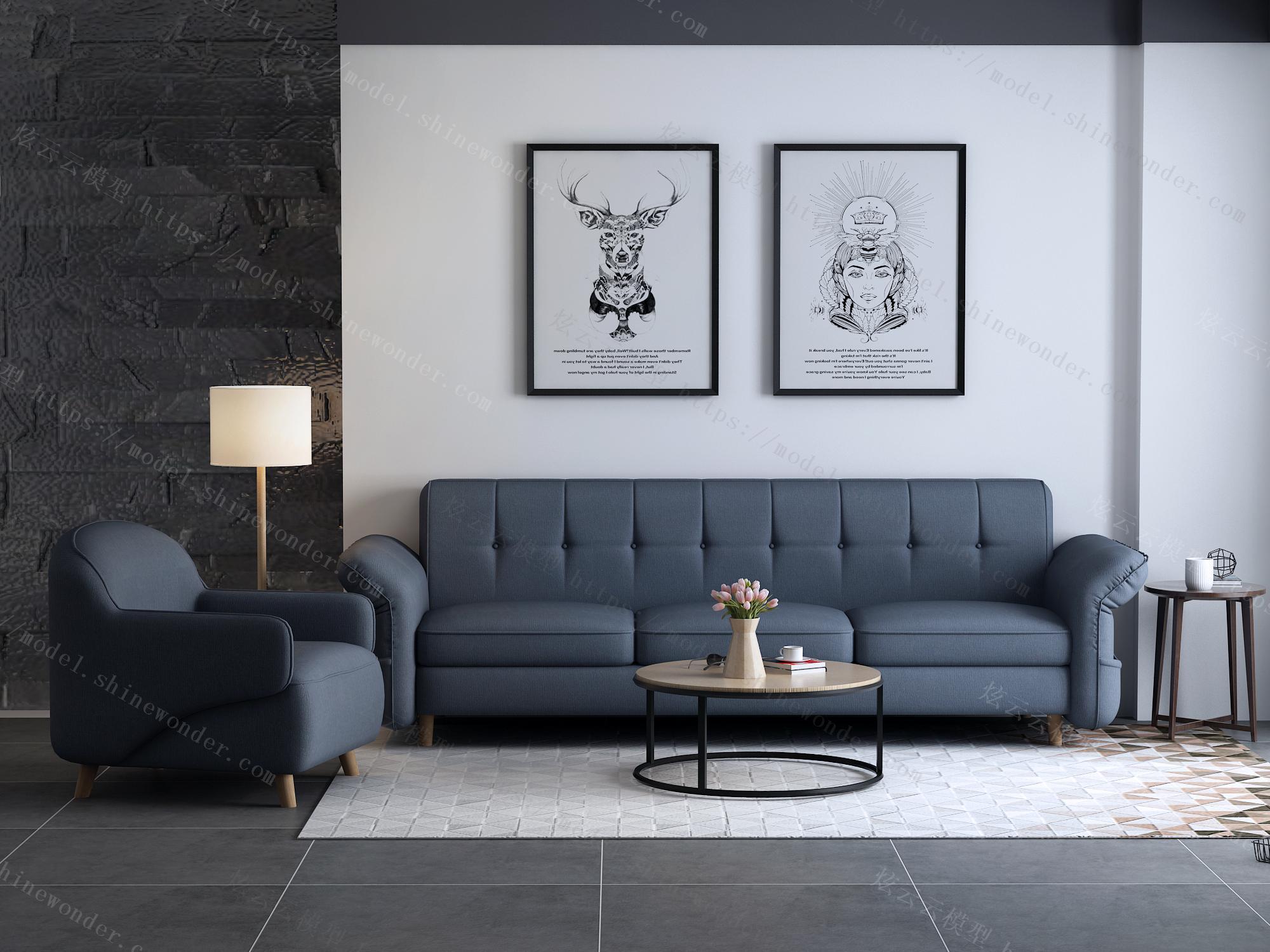 北欧简约现代沙发床小户型布艺沙发三人客厅整装家具1012模型