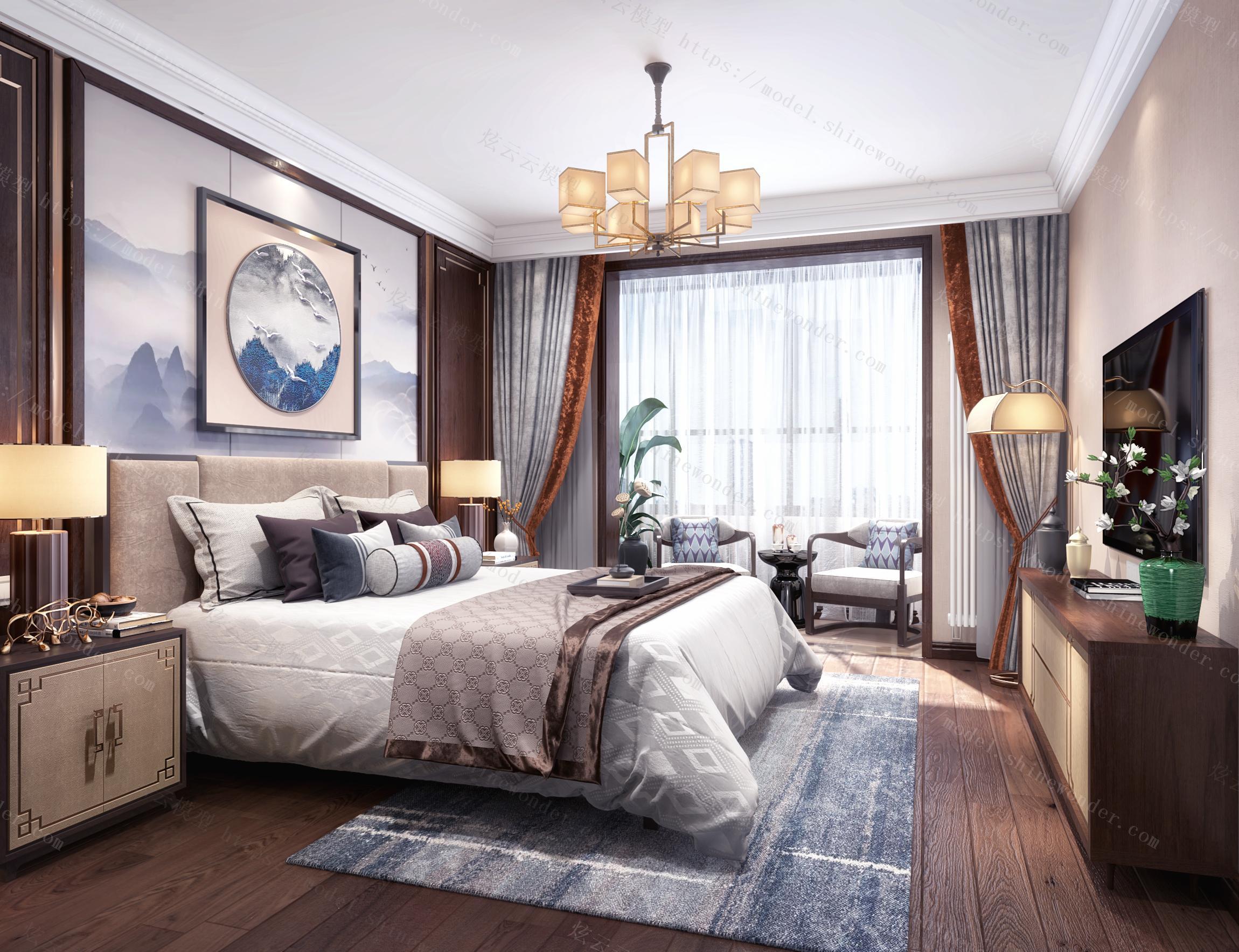 新中式主卧室阳台模型