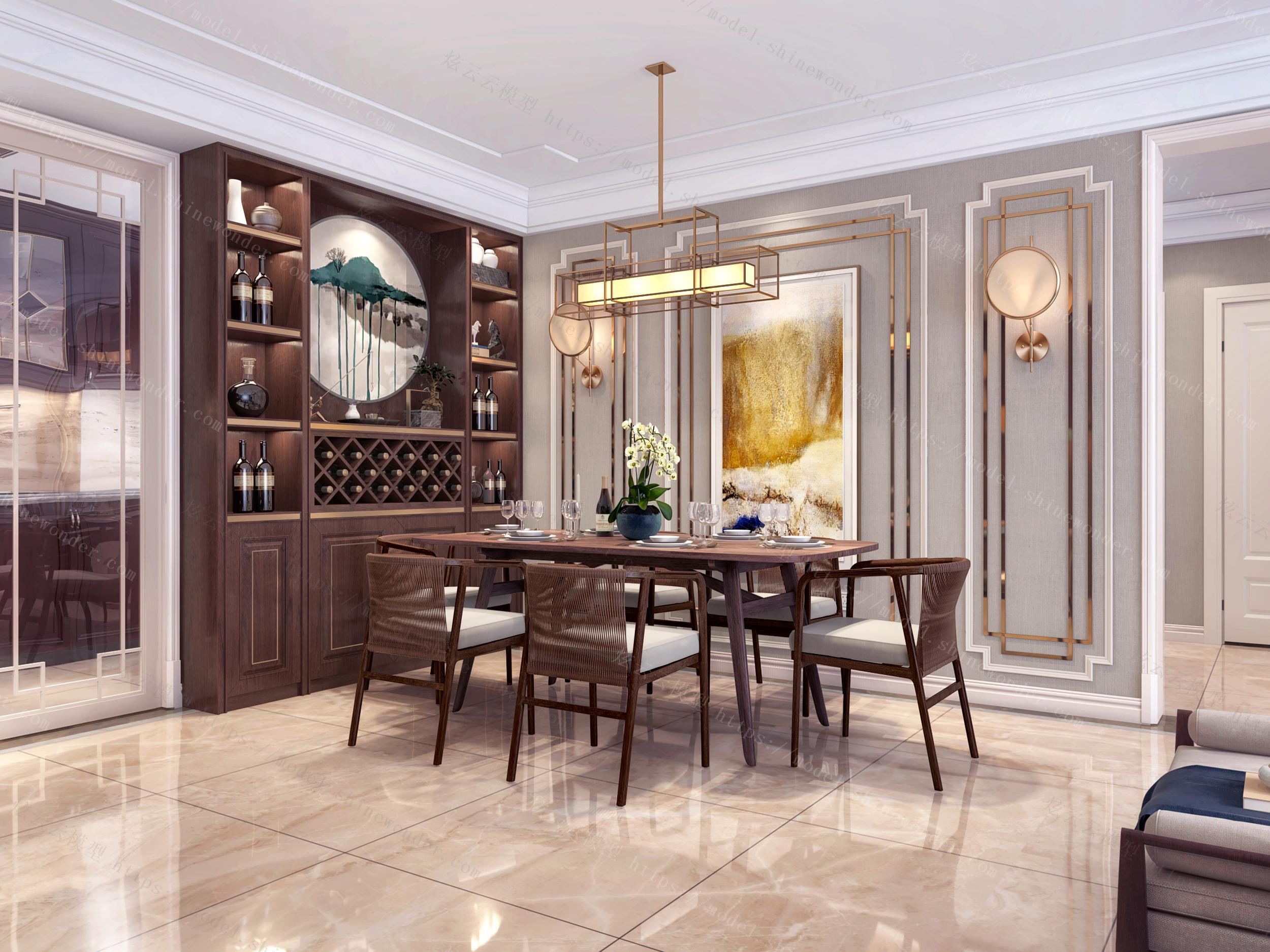 现代新中式客餐厅厨房模型