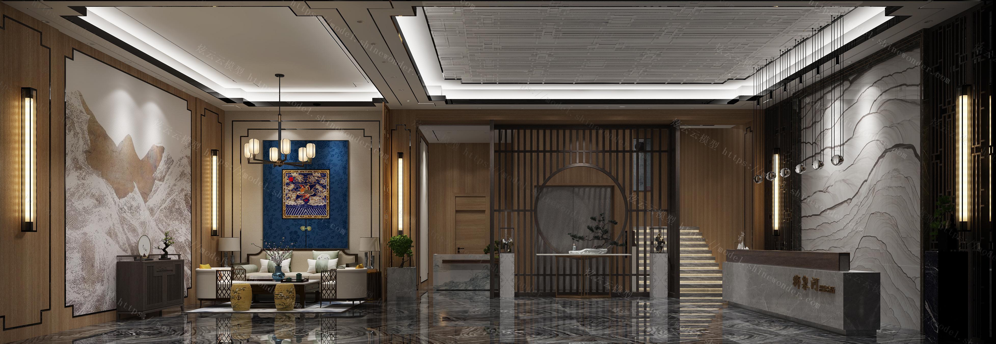 新中式温泉会所模型
