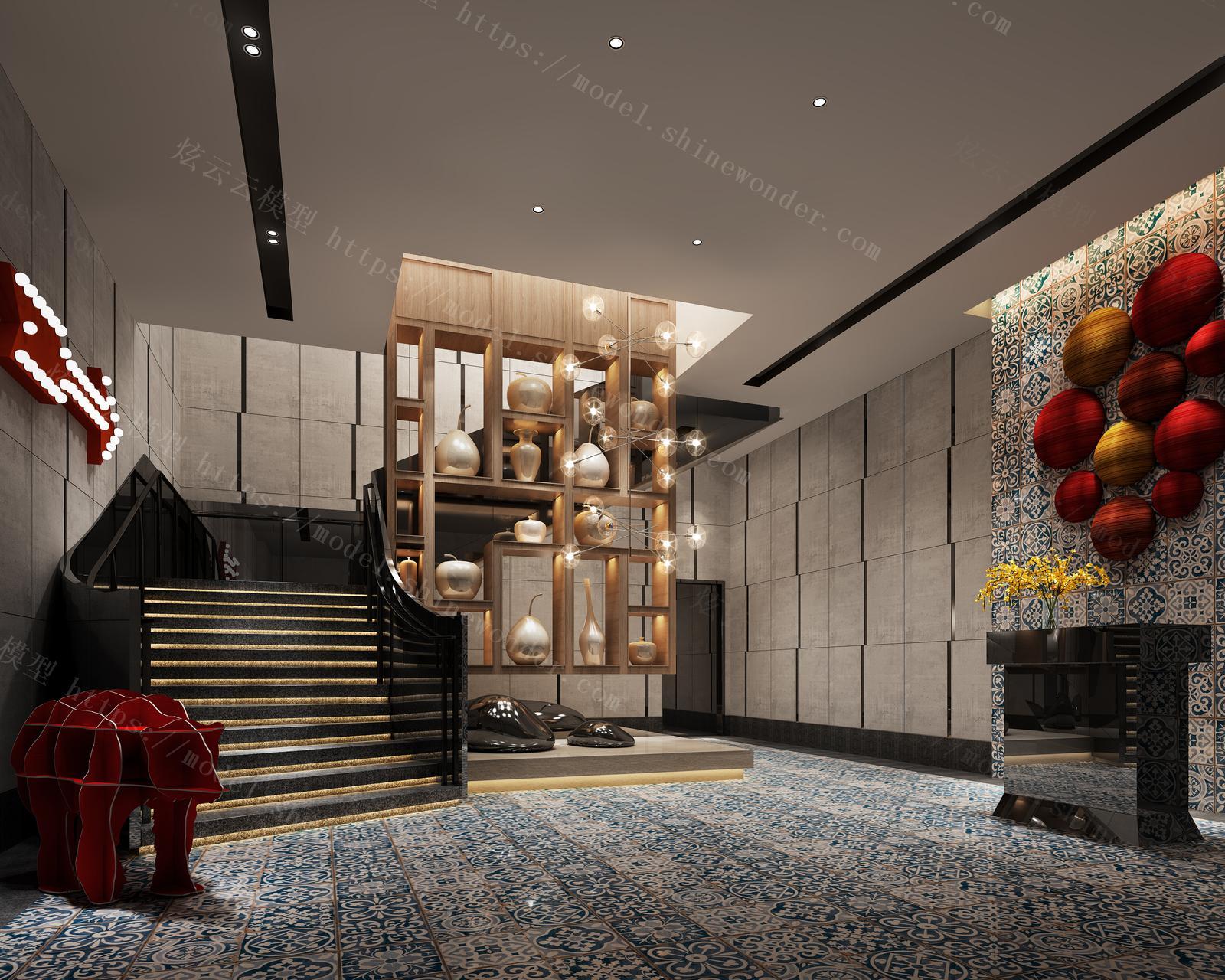酒店餐饮大厅模型
