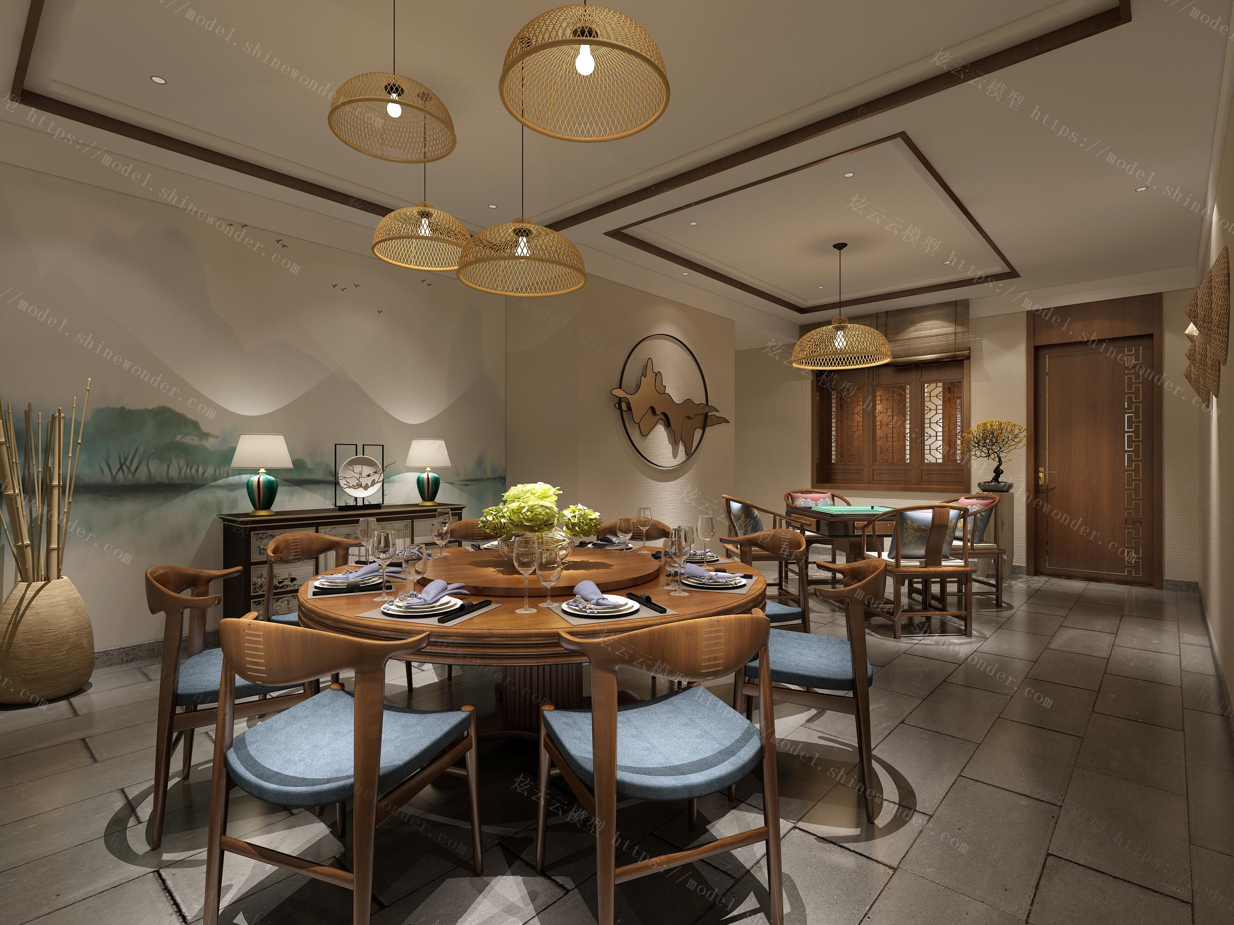中式酒店餐厅包间走廊过道模型