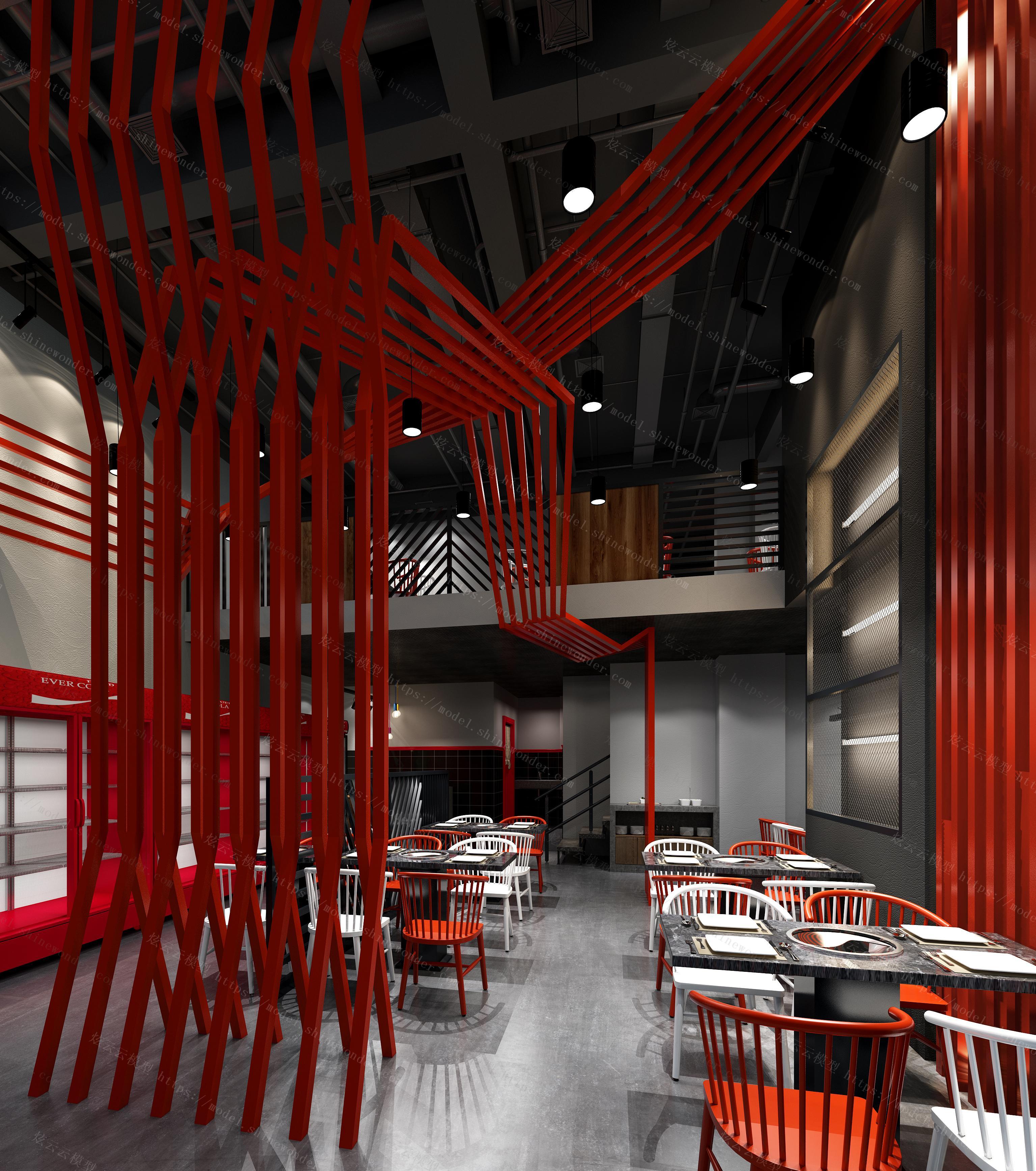 工业风餐厅模型