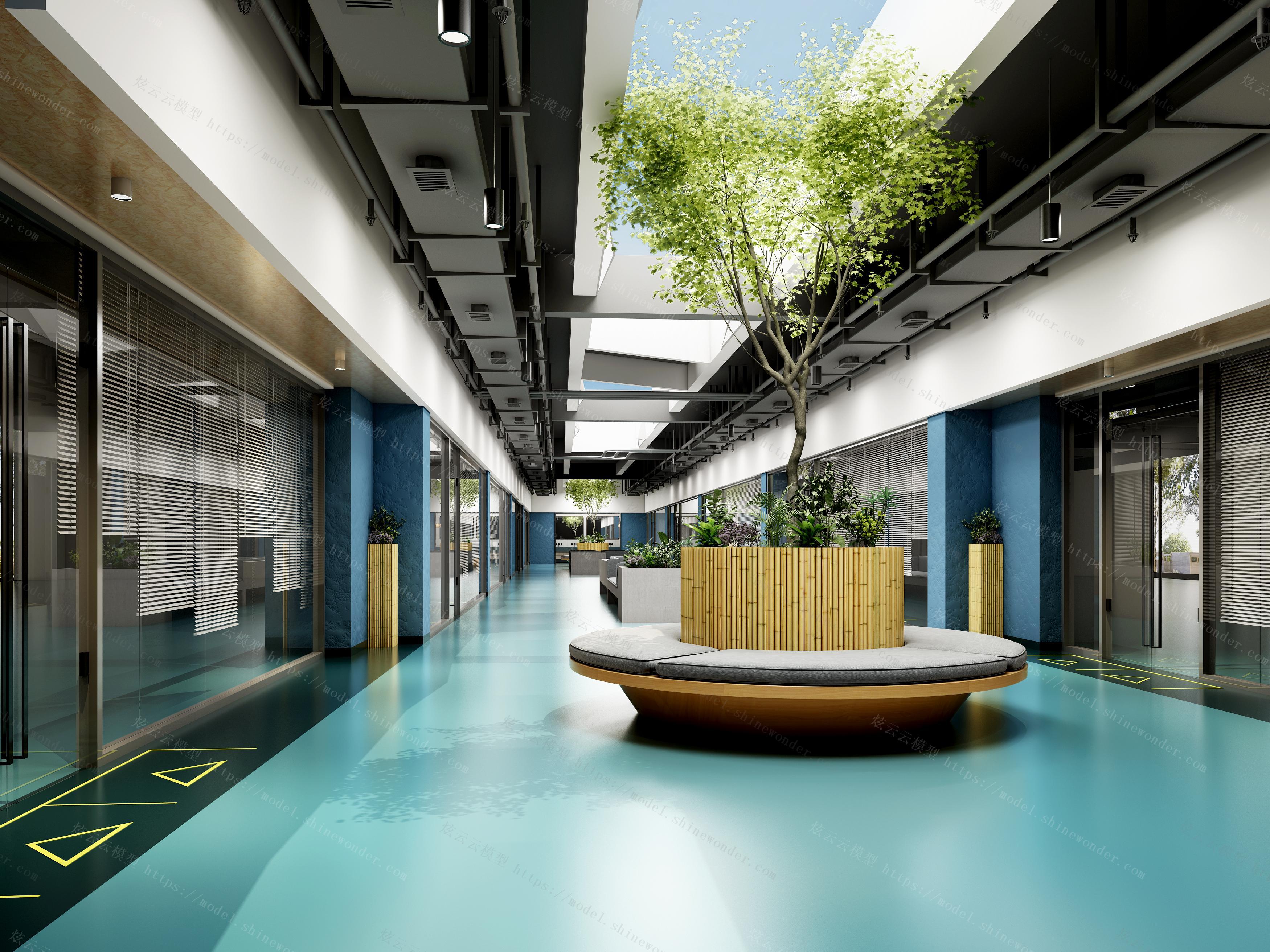 现代办公大厅过道模型