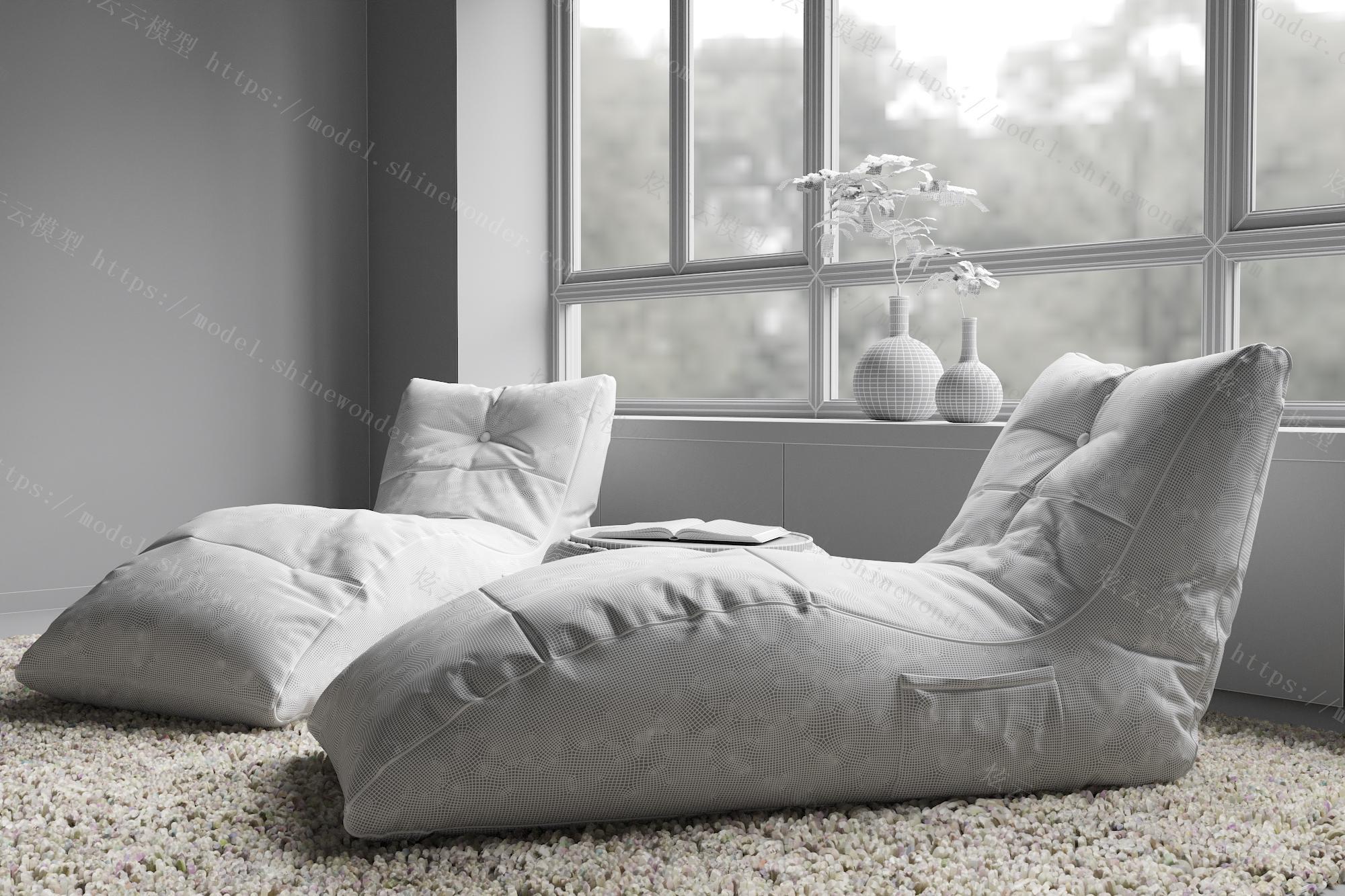 现代懒人沙发模型