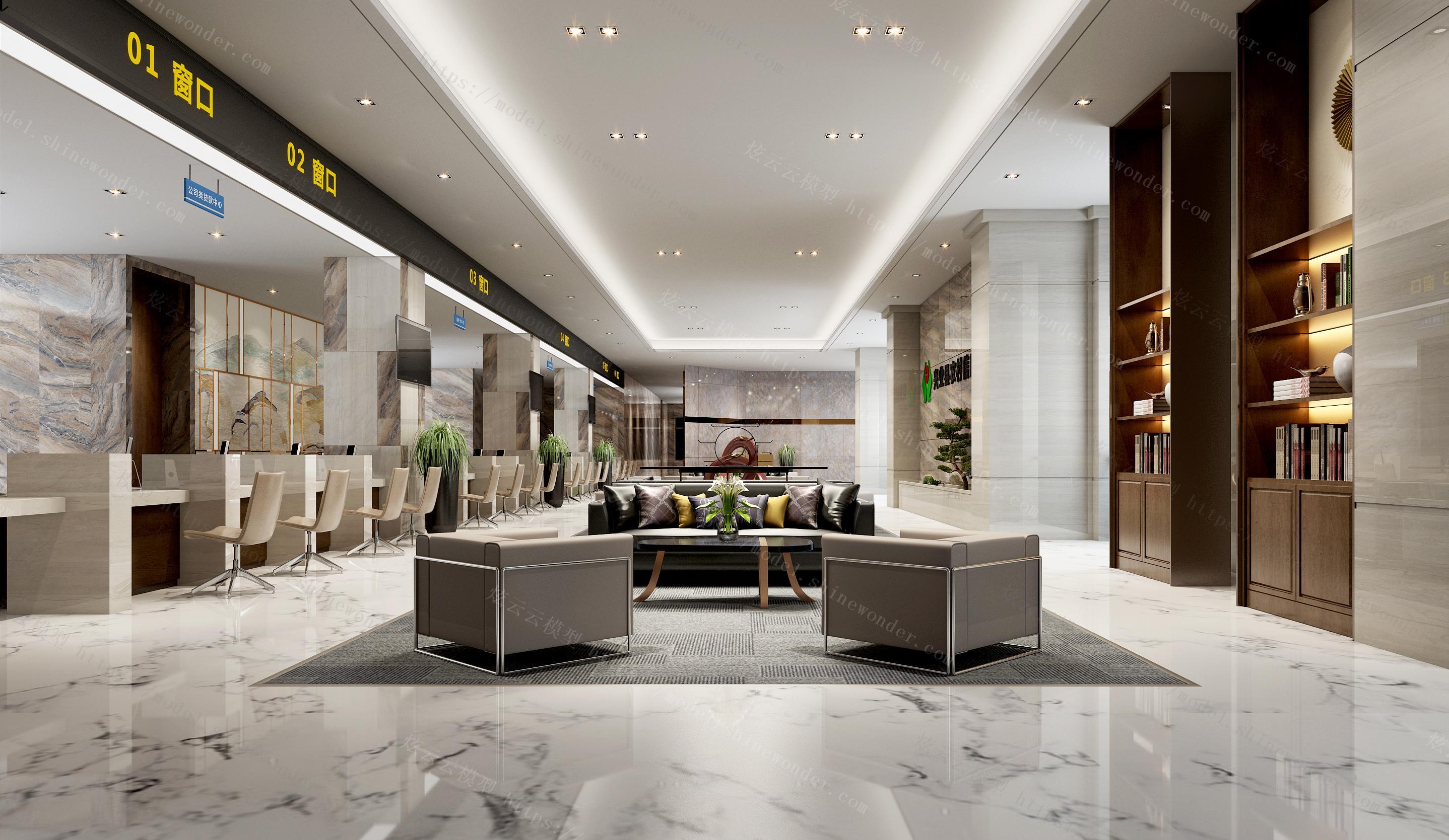 银行公共办事大厅模型