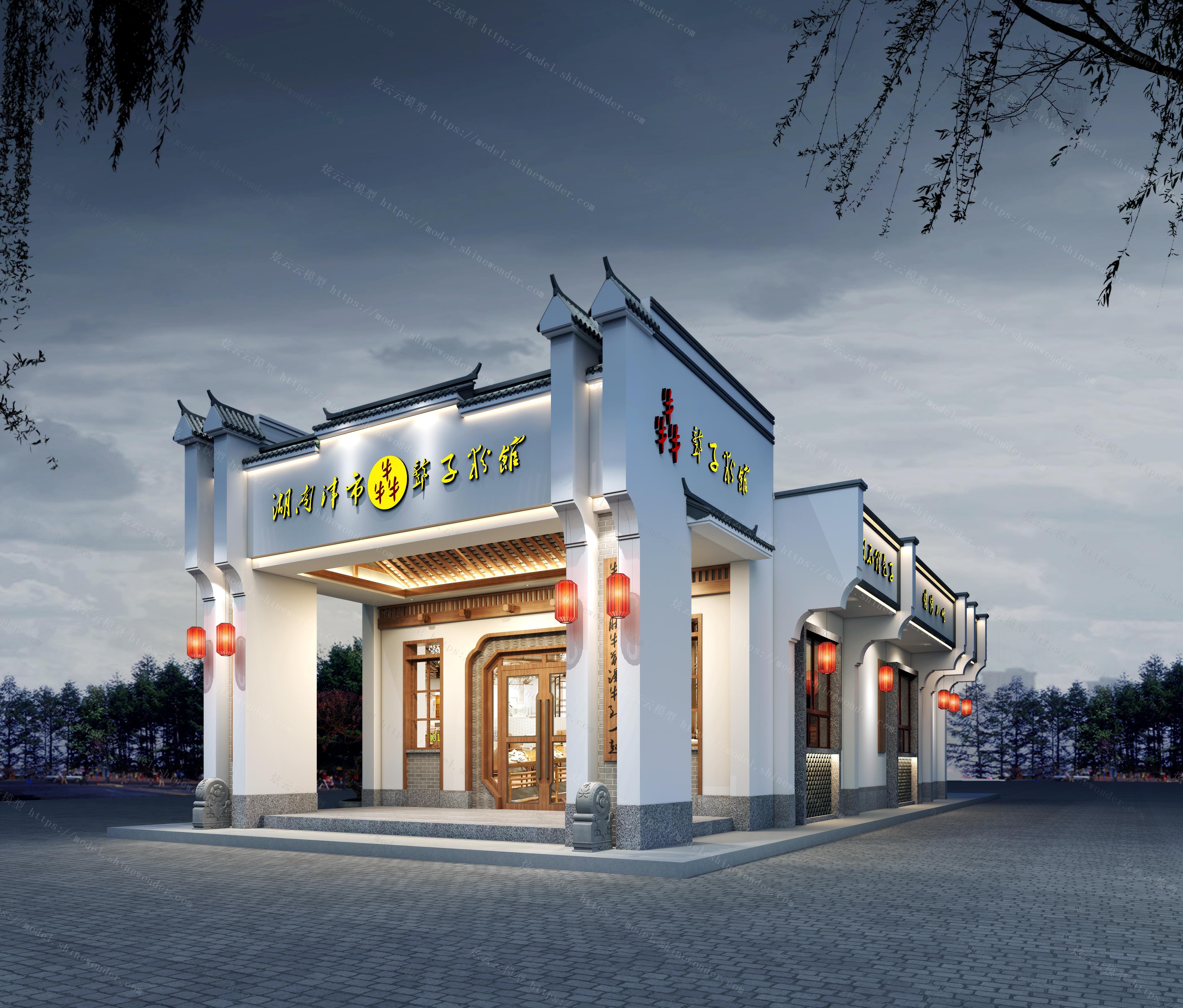 中式餐厅门头模型