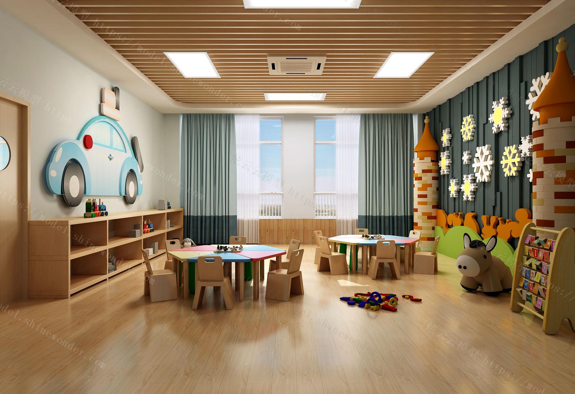 现代幼儿园手工教室模型