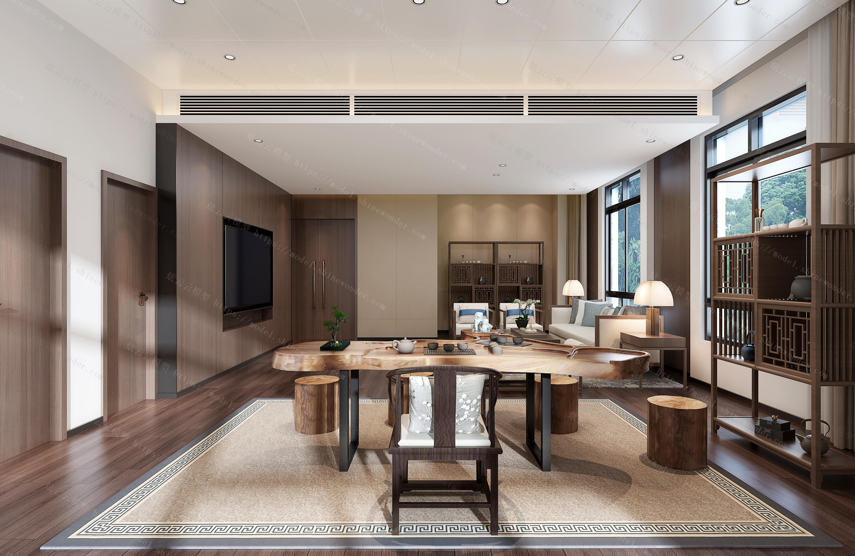 新中式茶室会客室模型