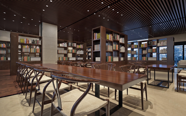 中式图书馆书吧模型