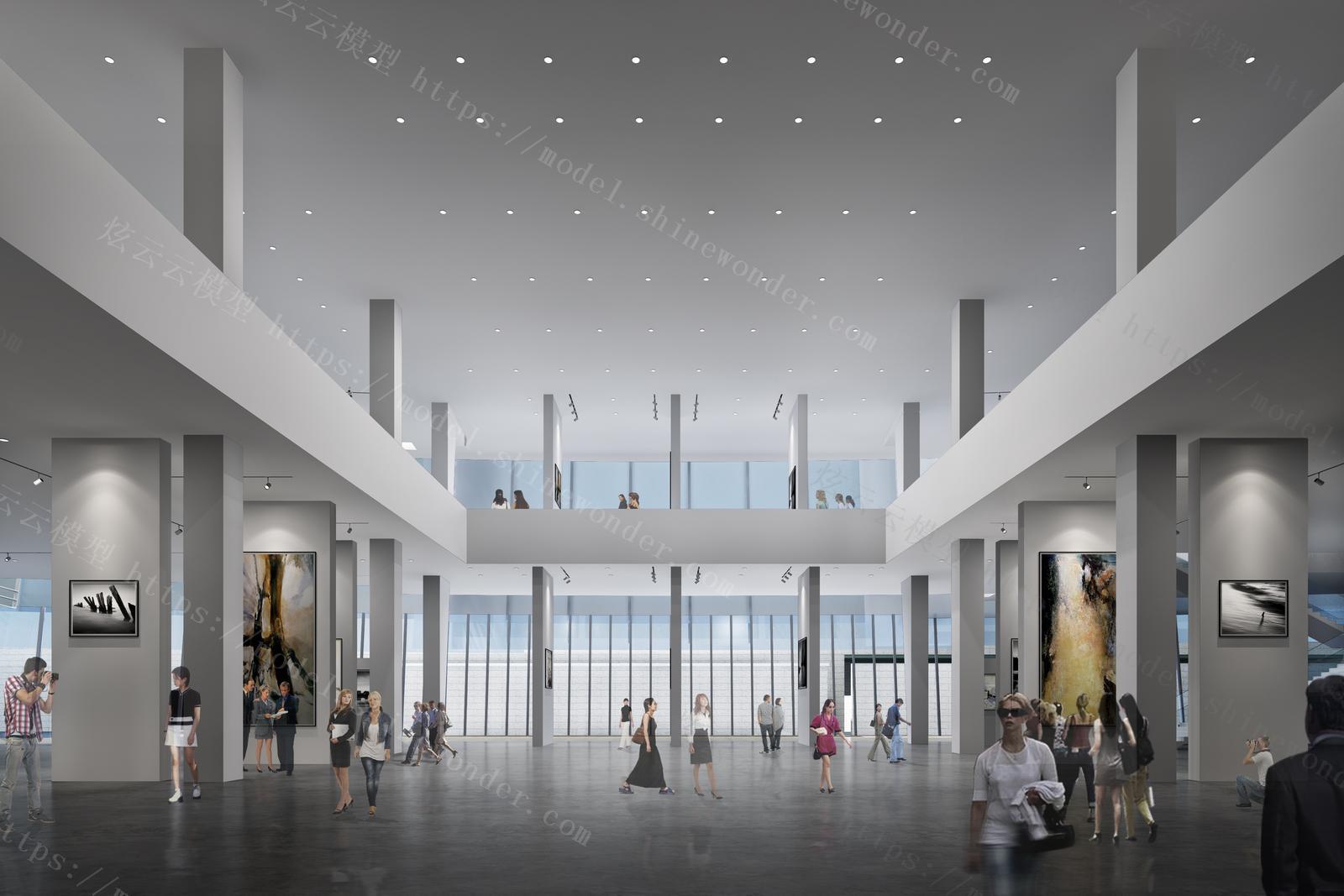 现代美术馆展厅模型