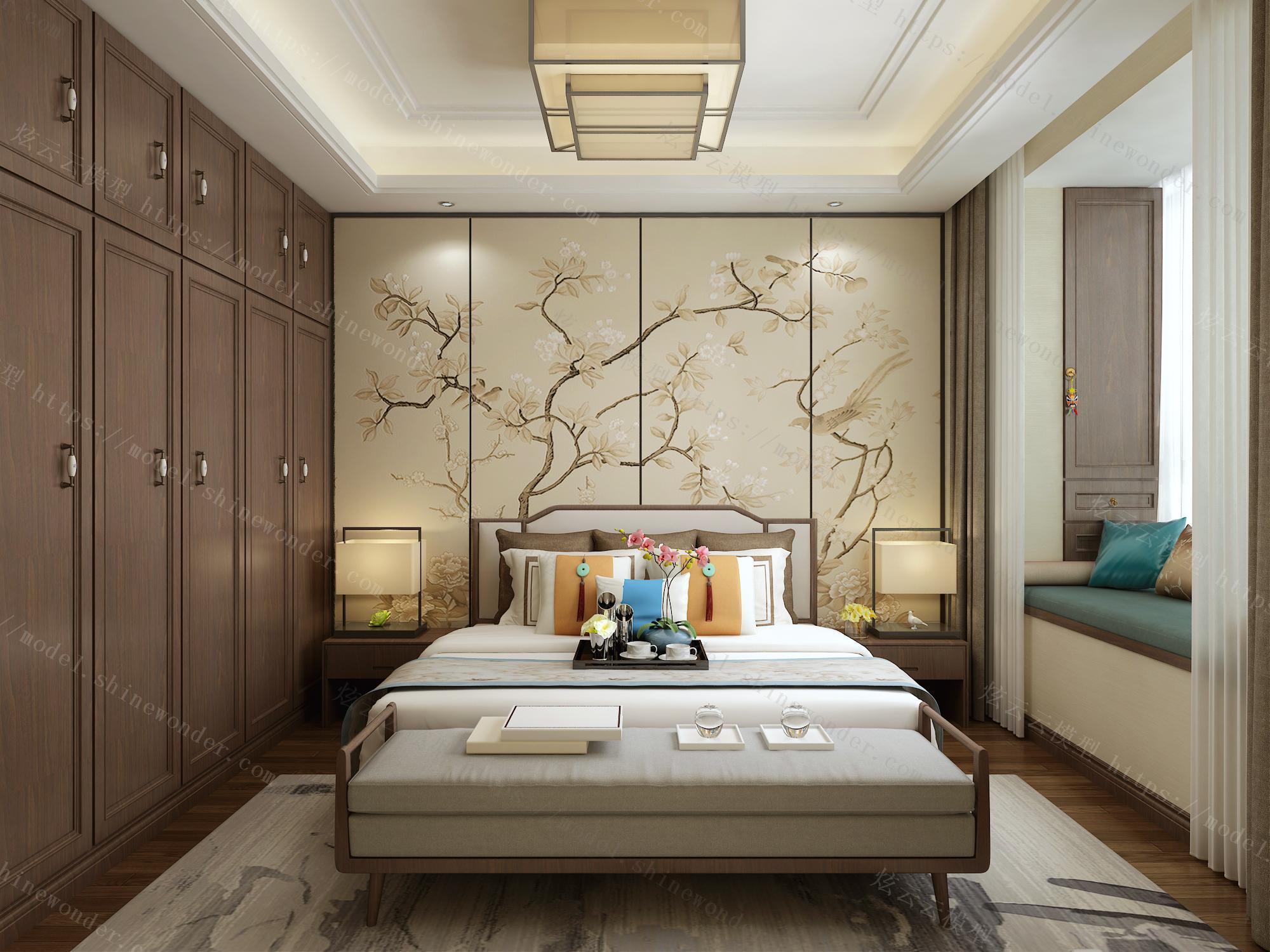 新中式卧室模型