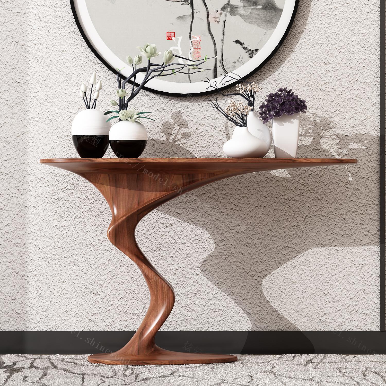 现代新中式玄关台饰品模型模型