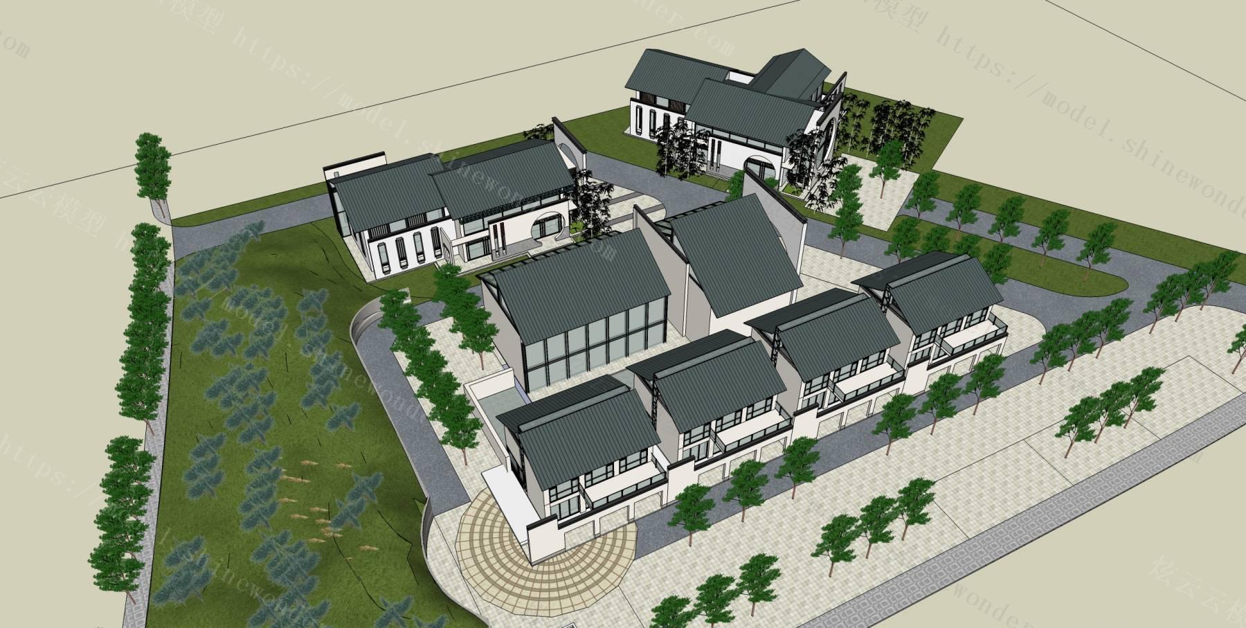 中式别墅群模型模型