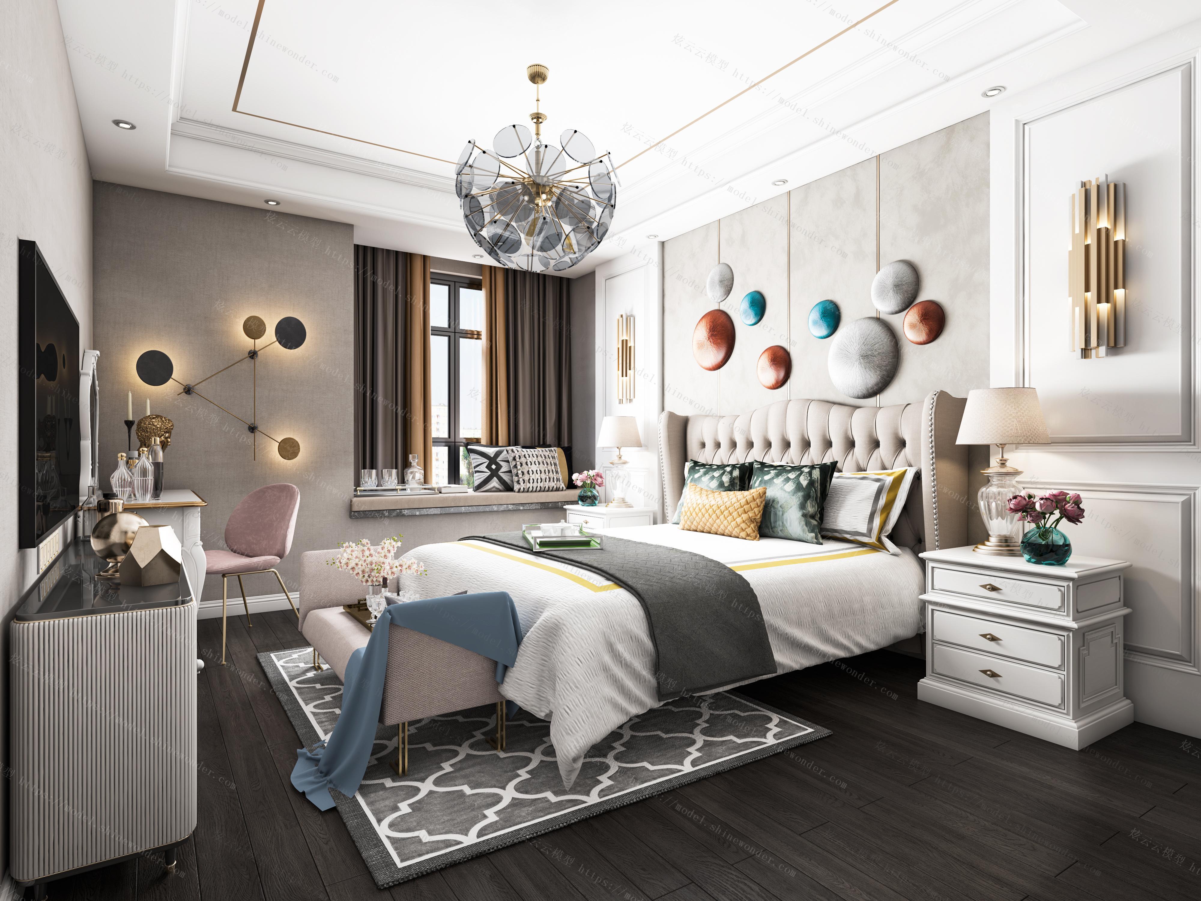 简欧轻奢卧室全景模型