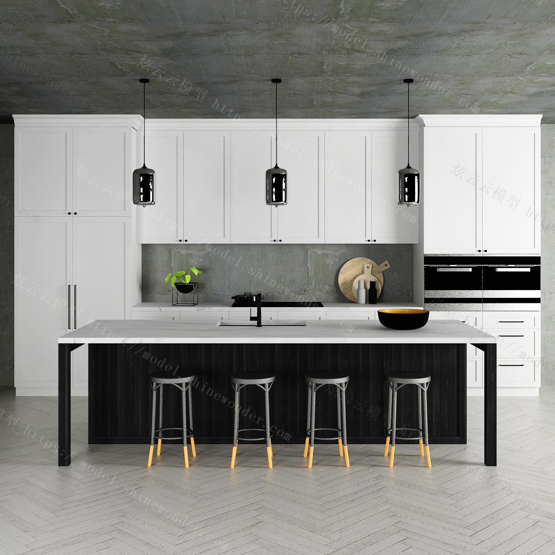 现代橱柜中岛台厨具组合模型