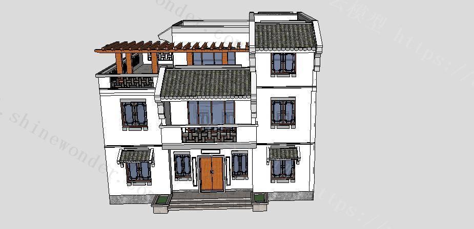 中式小别墅模型模型