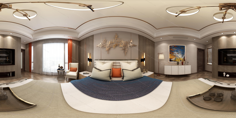 现代中式卧室模型