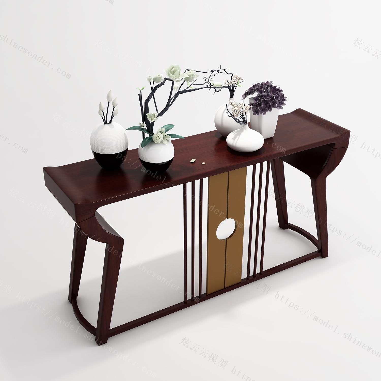 新中式装饰柜饰品模型模型