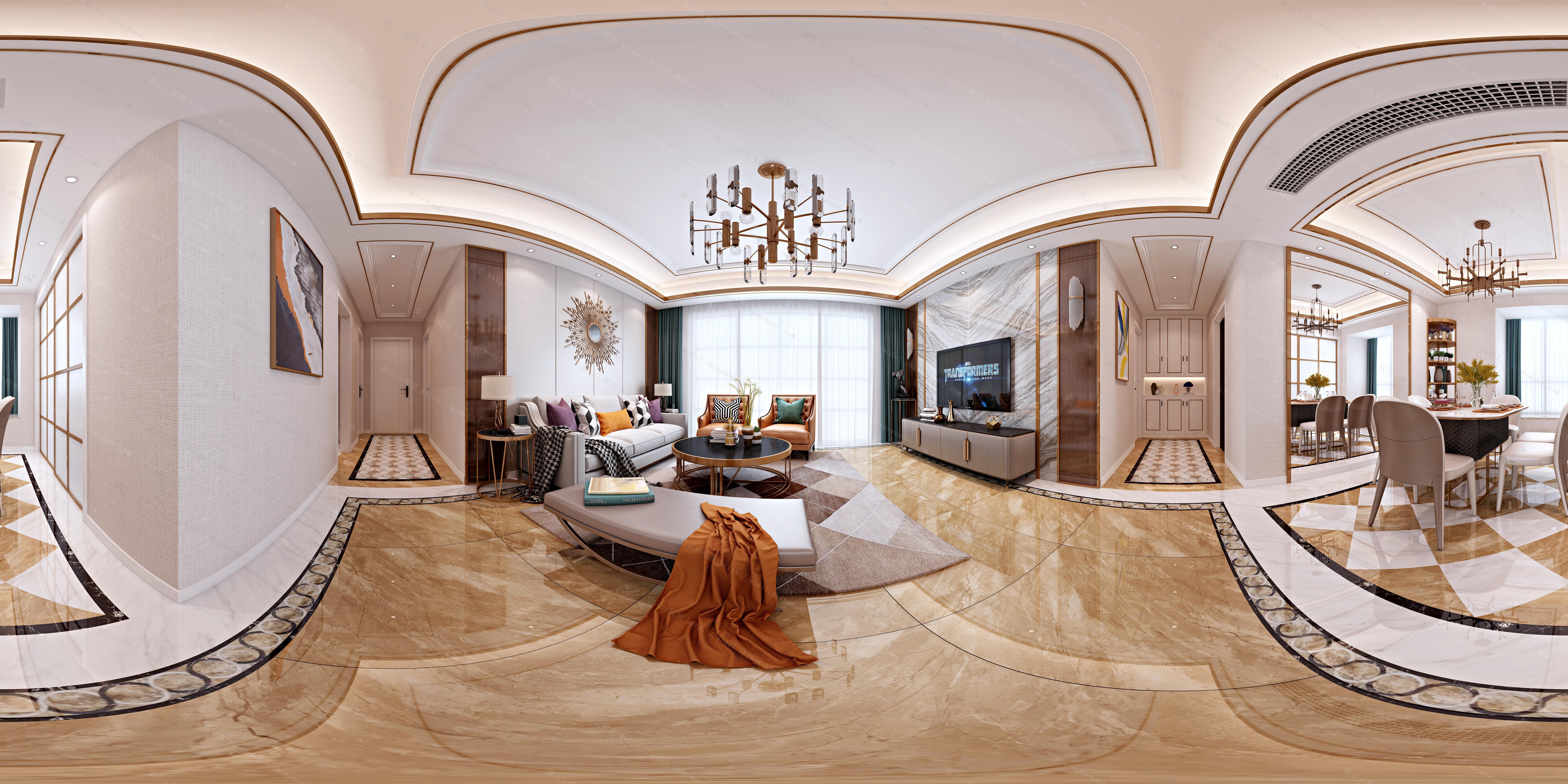 现代轻奢客厅餐厅全景模型