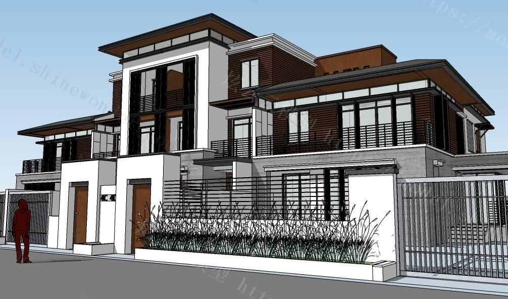 中式风格建筑别墅模型模型