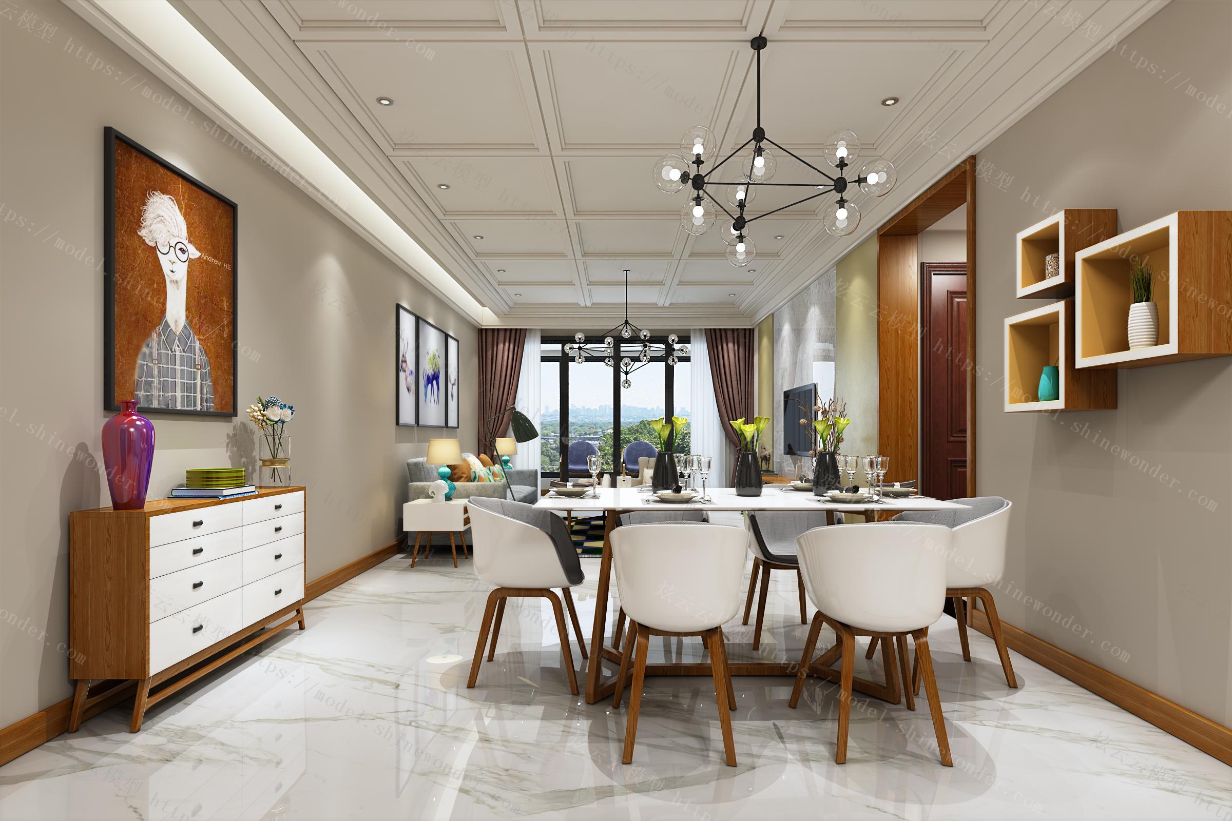 现代客餐厅模型
