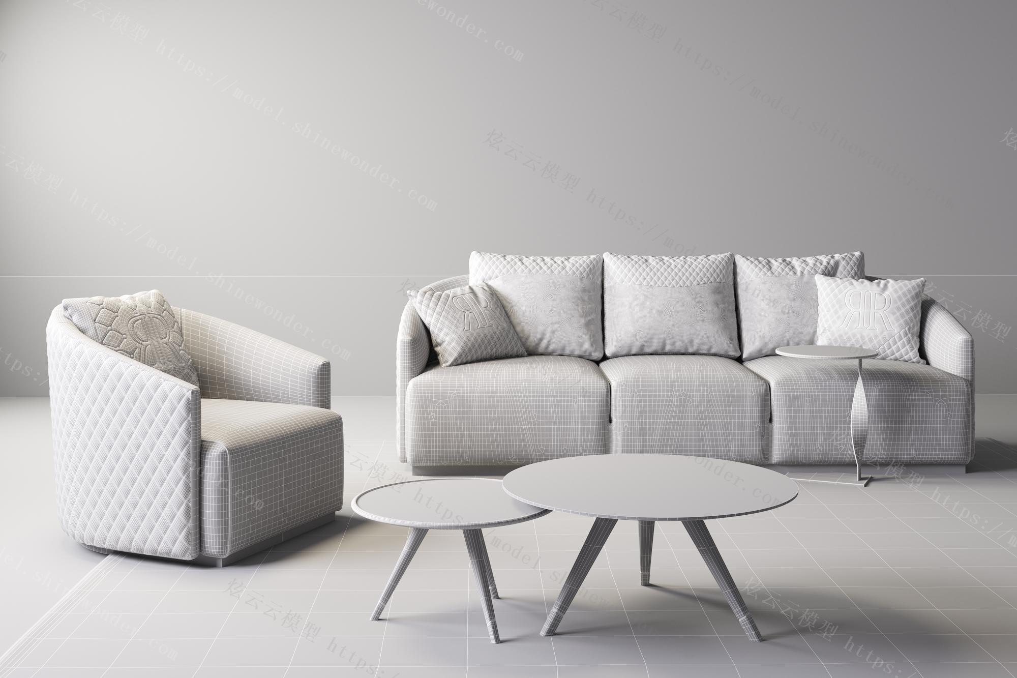 现代奢华沙发组合模型