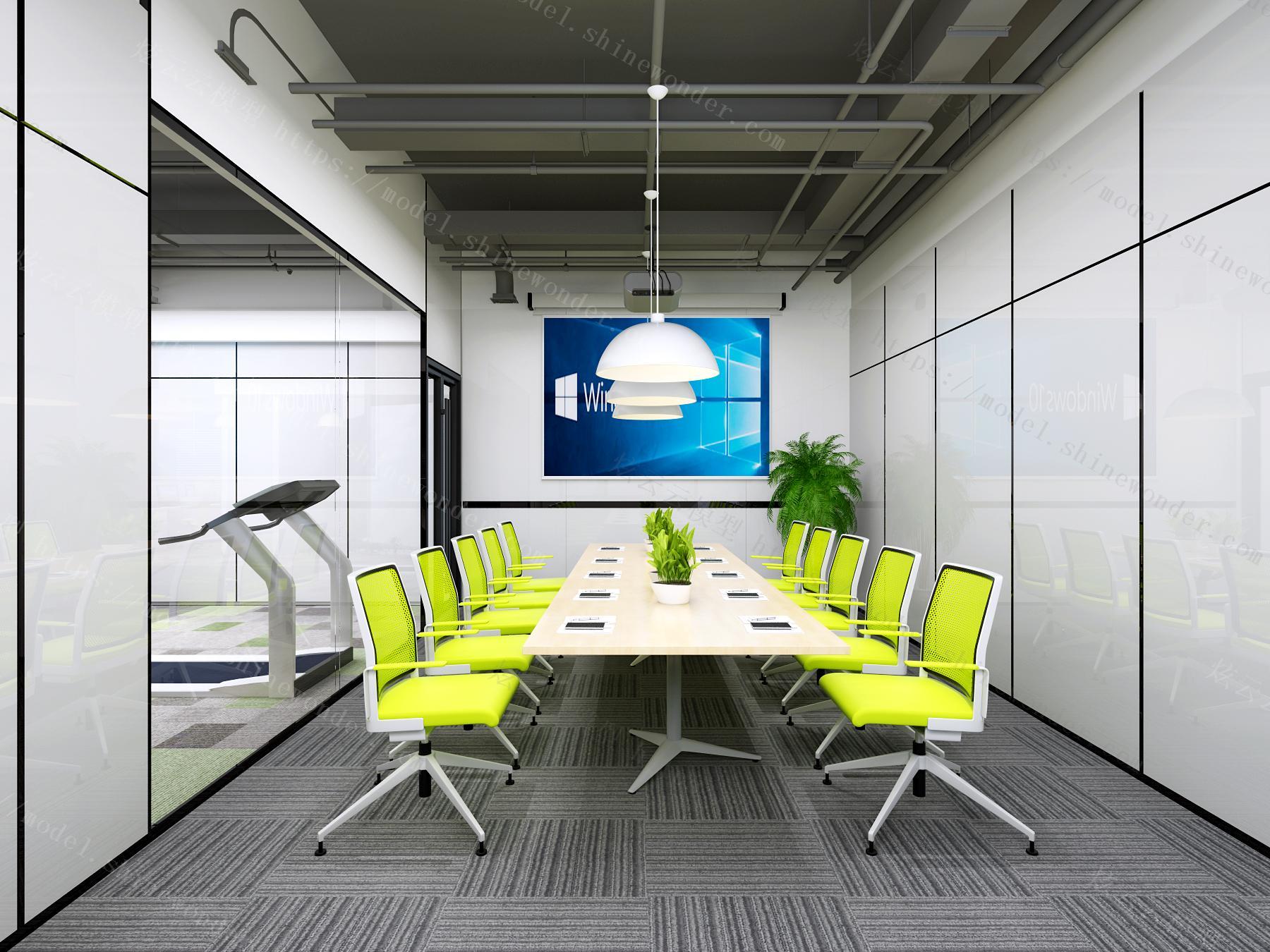 现代办公前台会议室总经理办公室模型