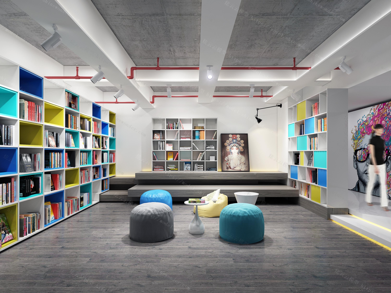 办公室阅览区模型