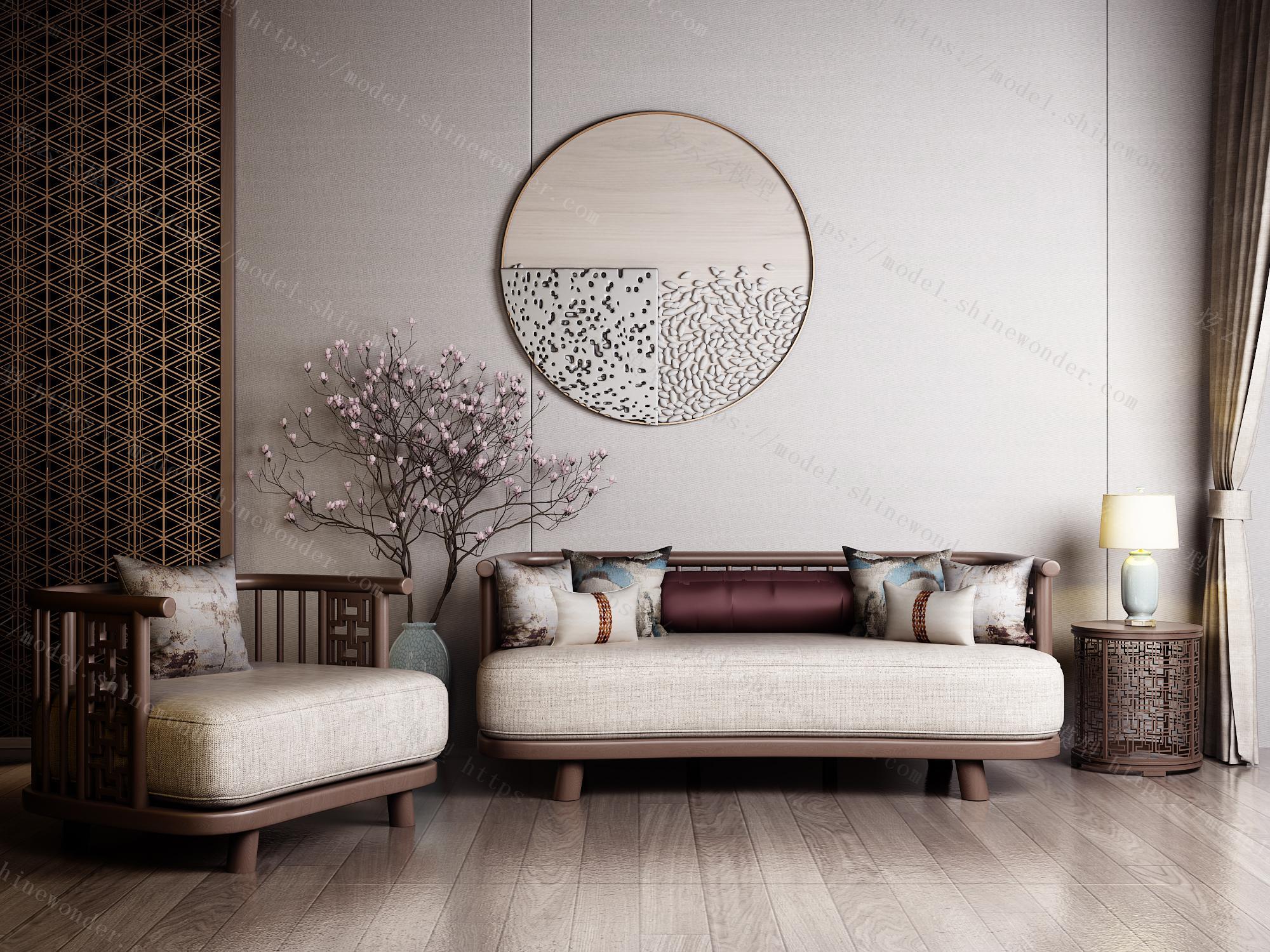 新中式实木布艺沙发三人大小户型客厅简约乌金木家具DP1K模型