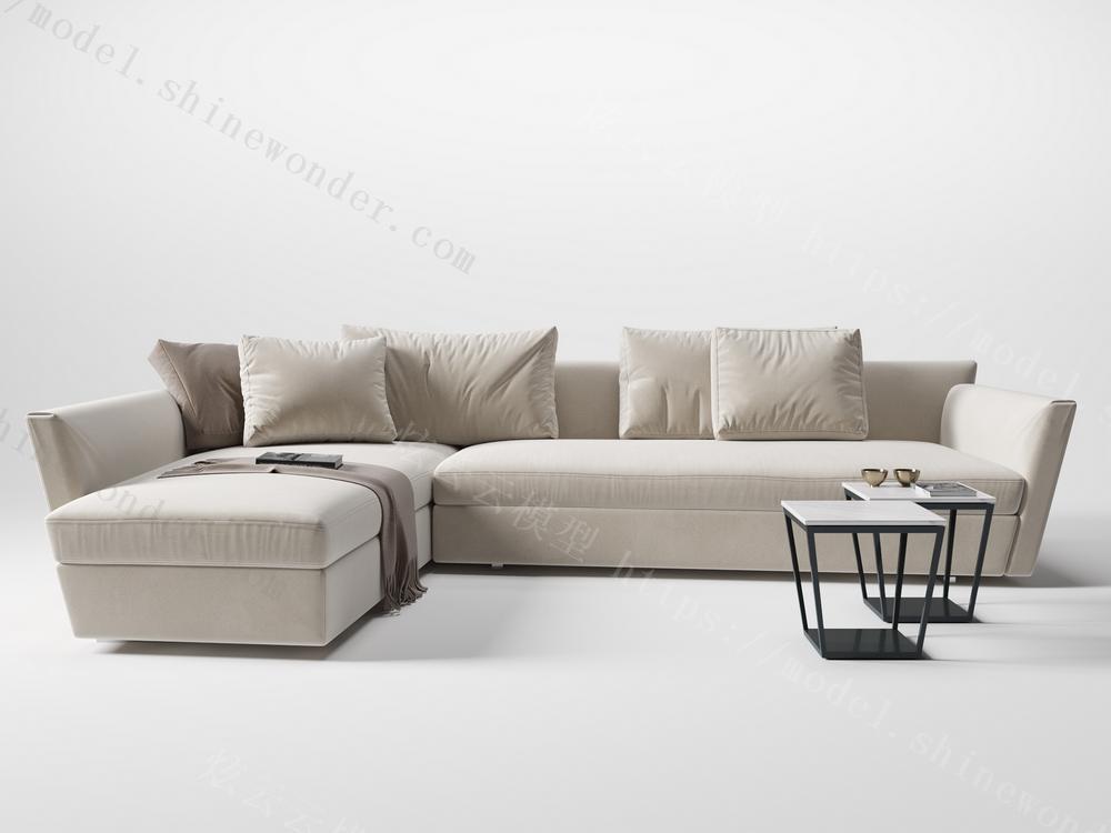 现代L型沙发模型