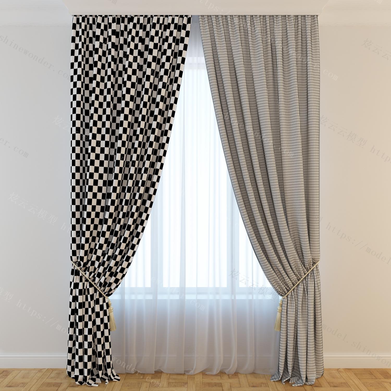现代客厅窗帘模型