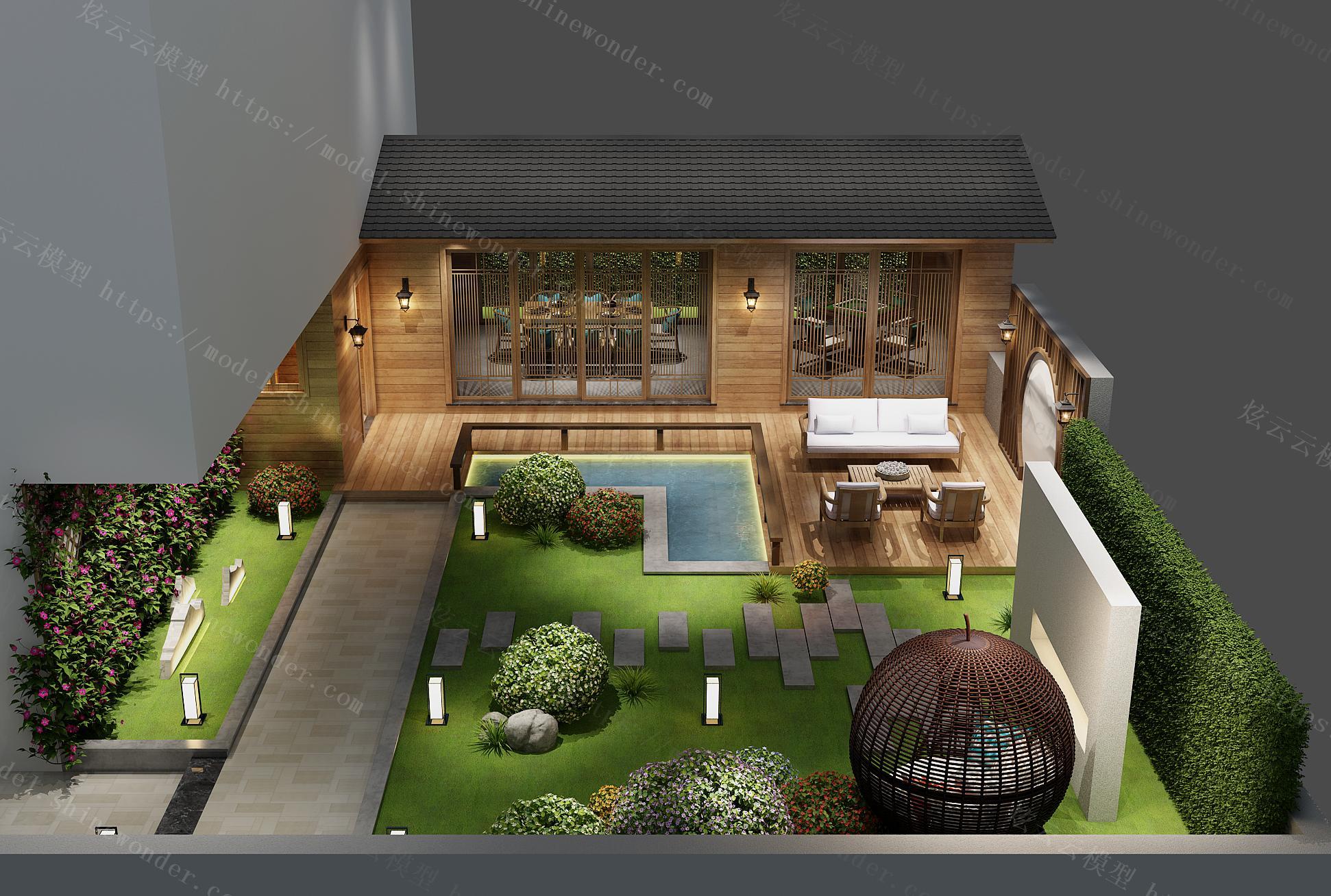 中式会所阳台休闲区模型