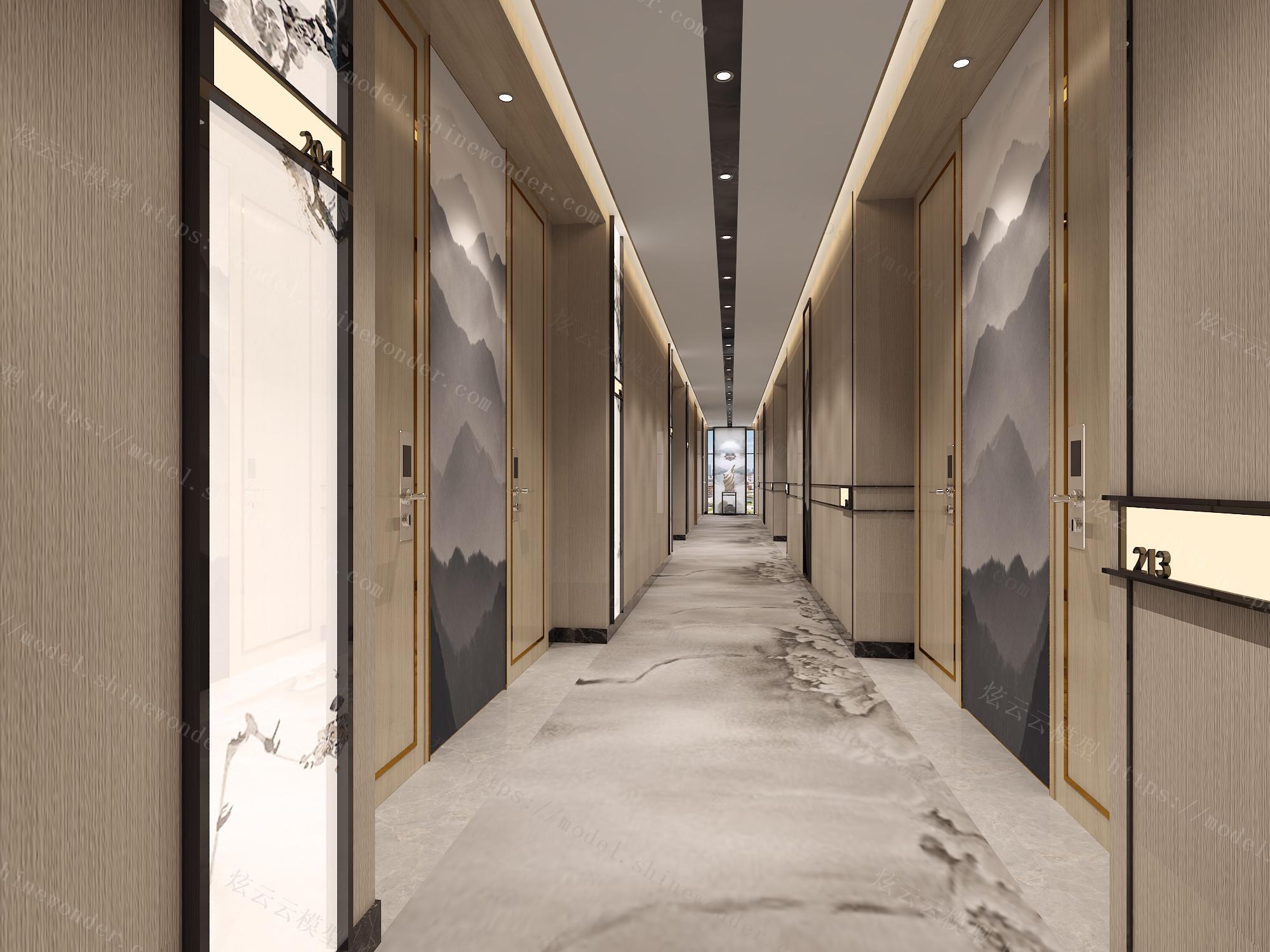 中式酒店客房走廊模型