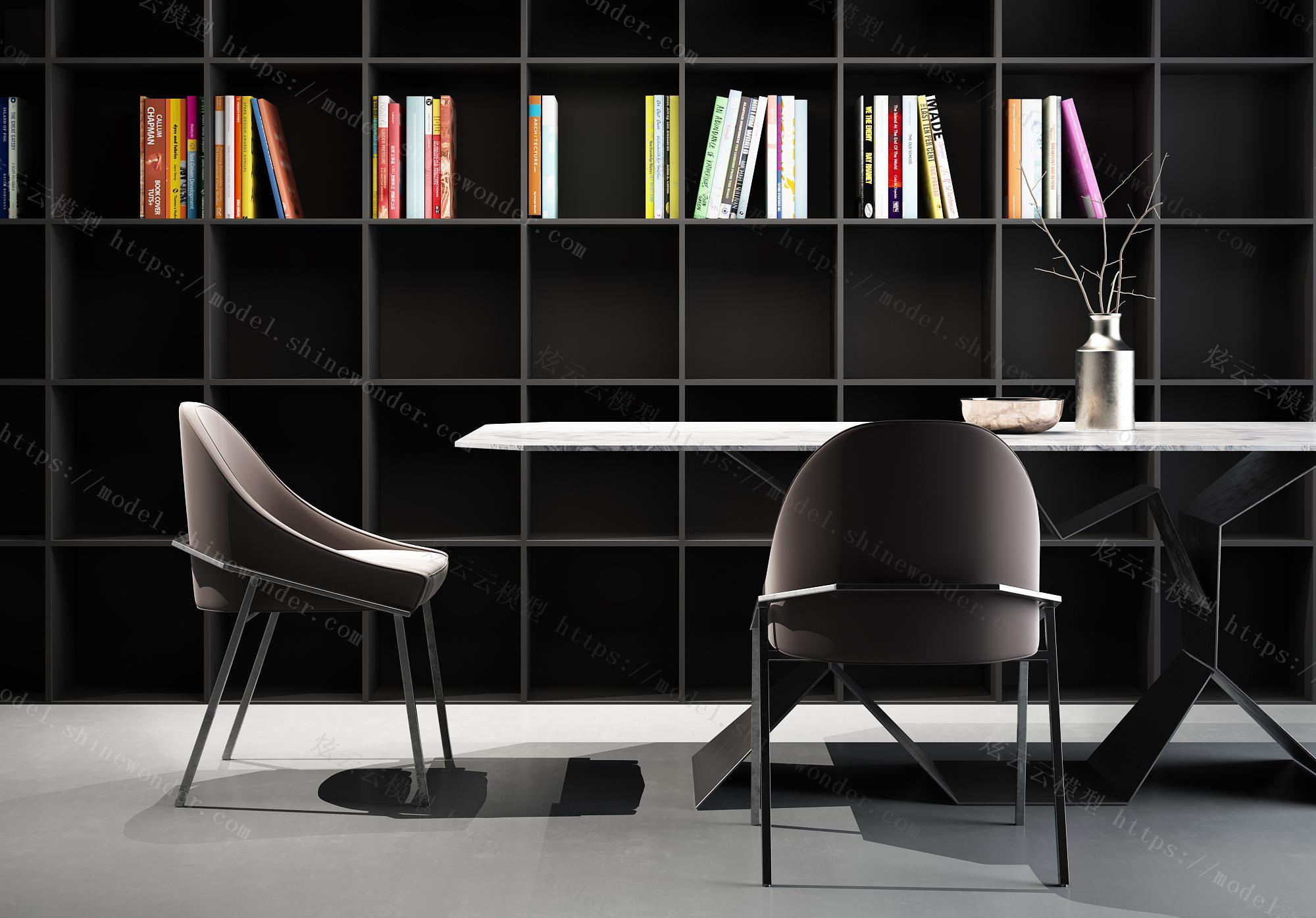 现代餐桌椅模型