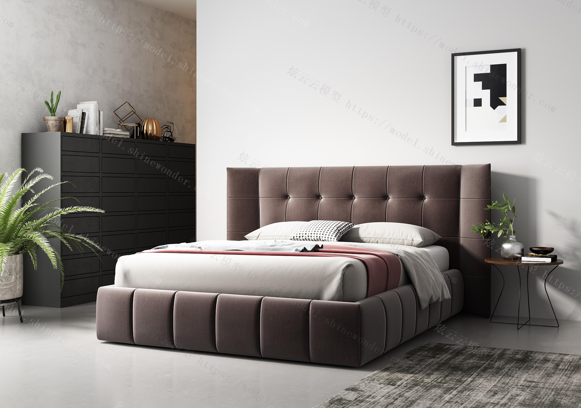 现代双人床组合模型