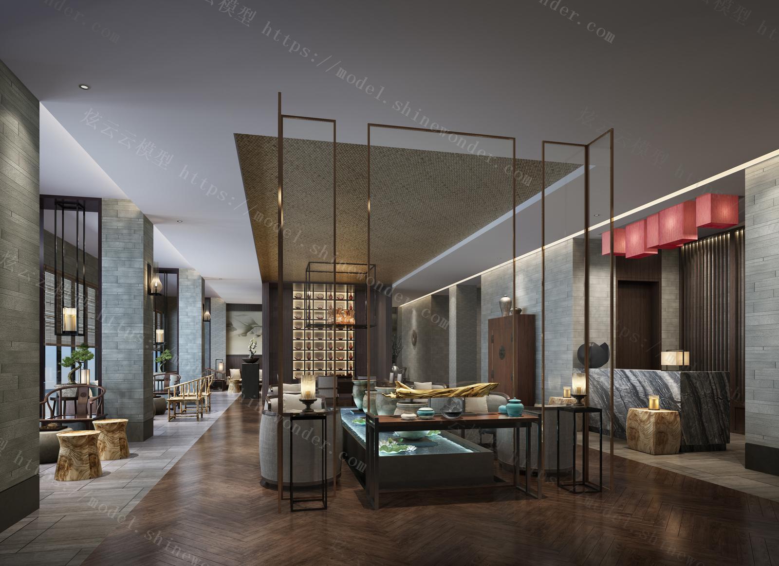 中式茶楼模型