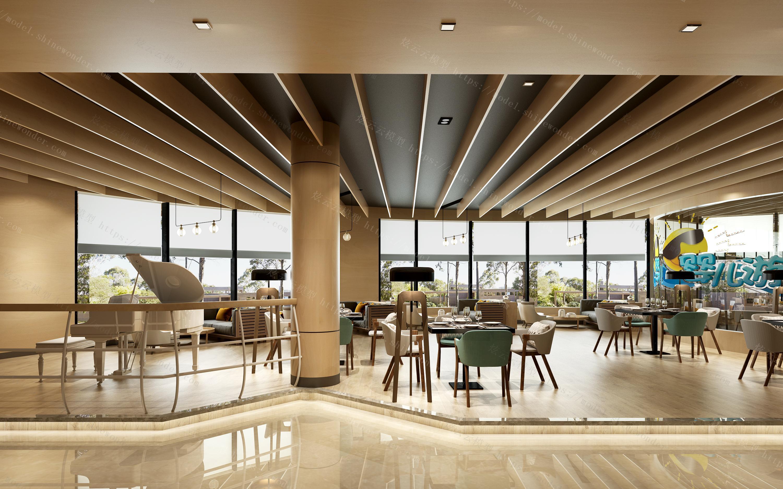 现代餐厅大厅模型