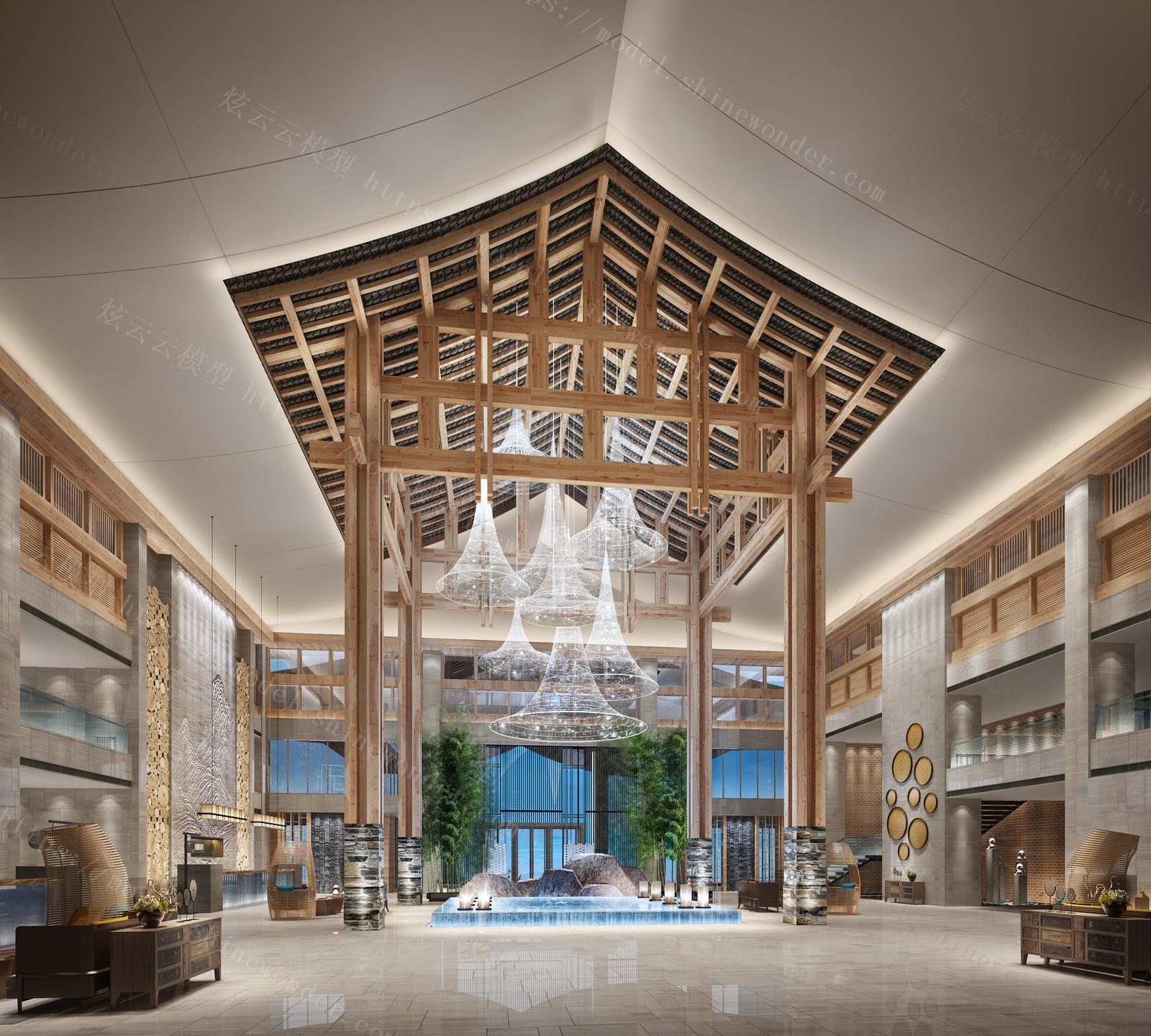 奢华酒店大厅模型