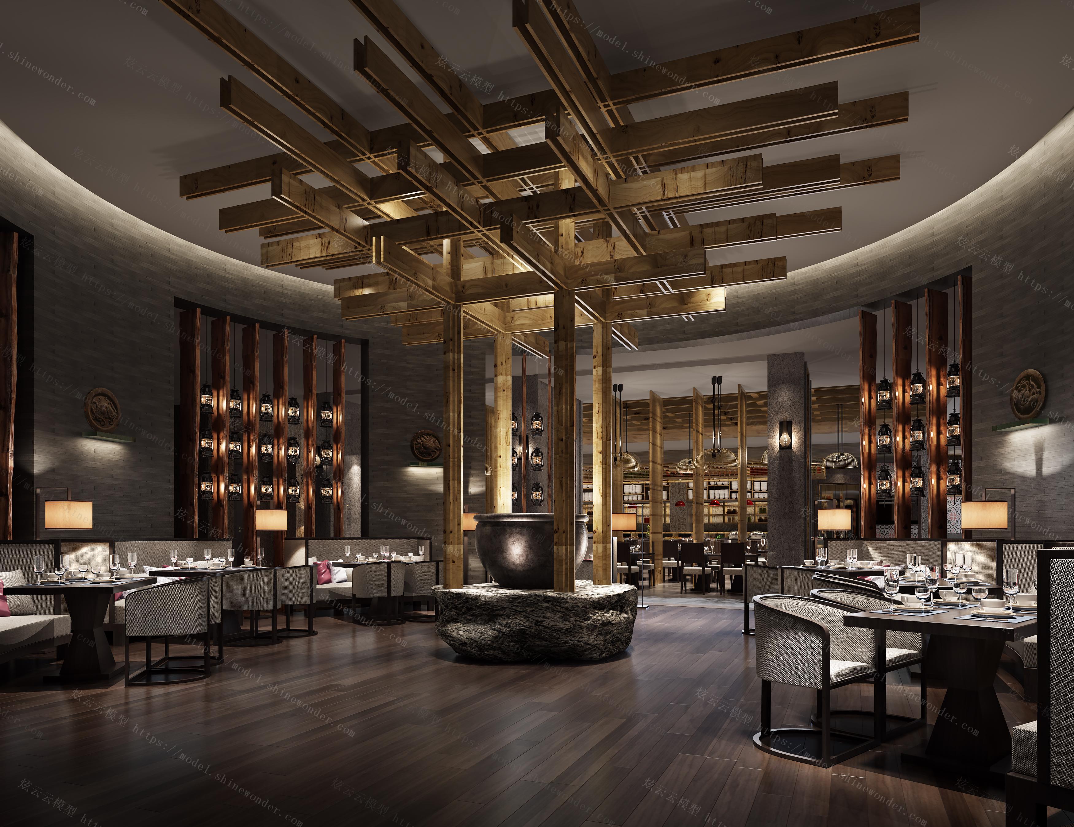 新中式温泉酒店大厅模型