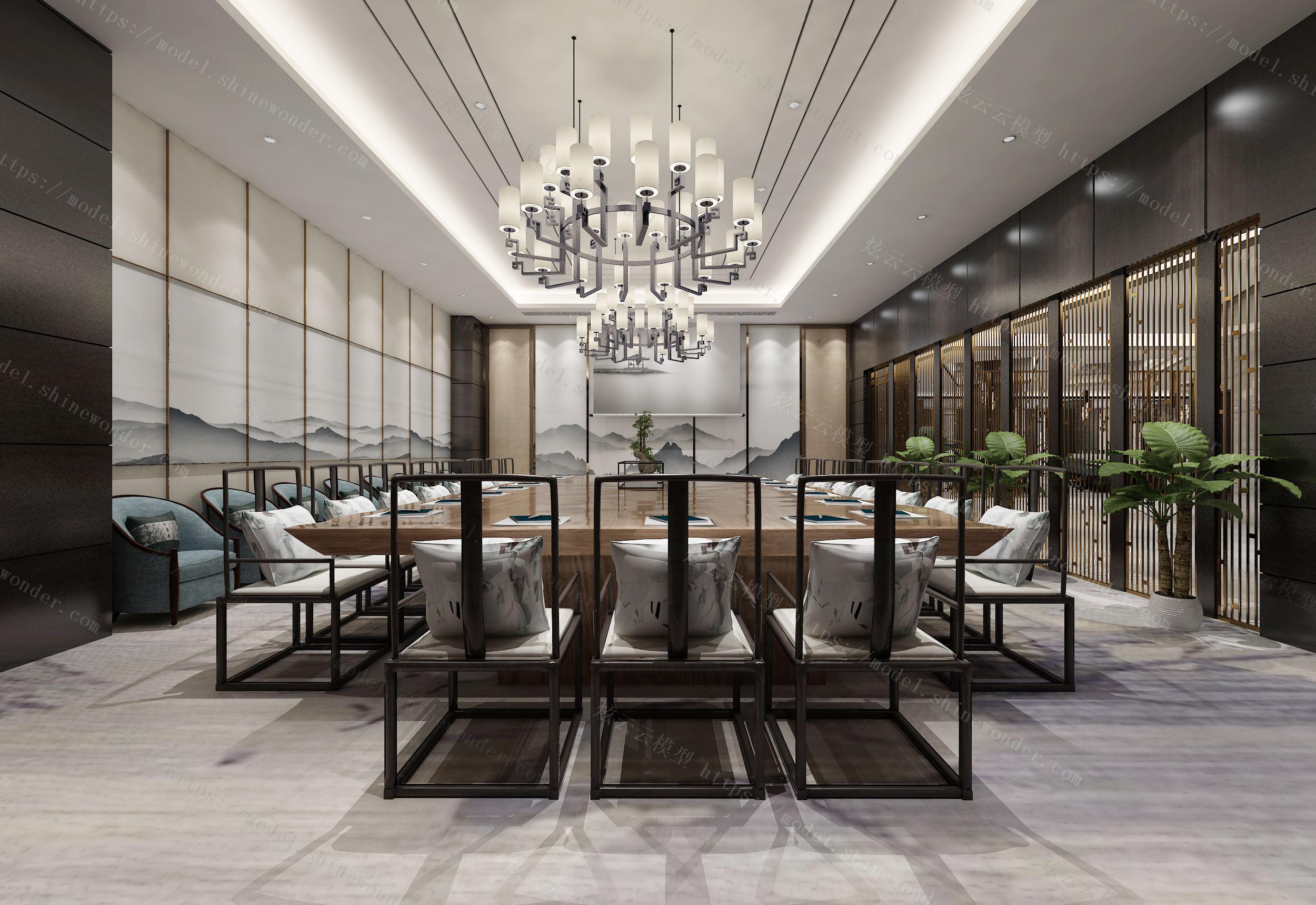 新中式会议室模型