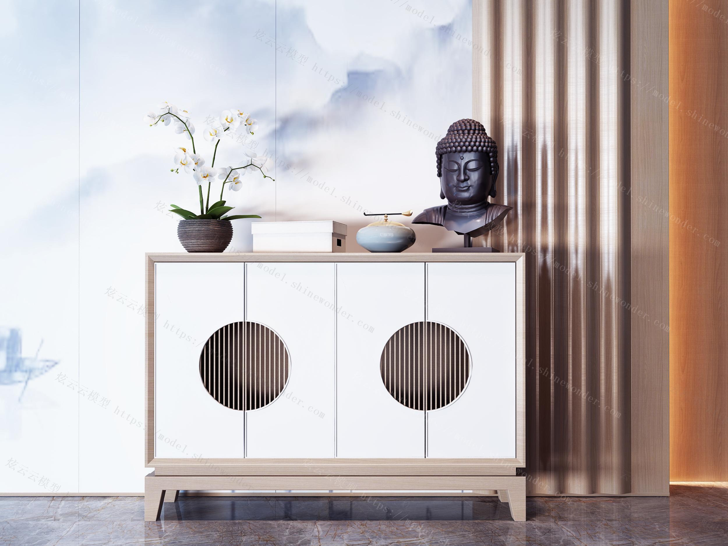 新中式实木边柜组合模型
