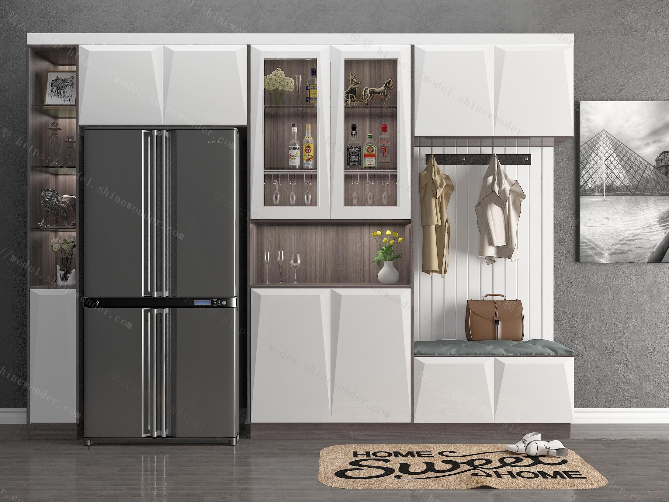 装饰柜鞋柜组合 双门冰箱模型