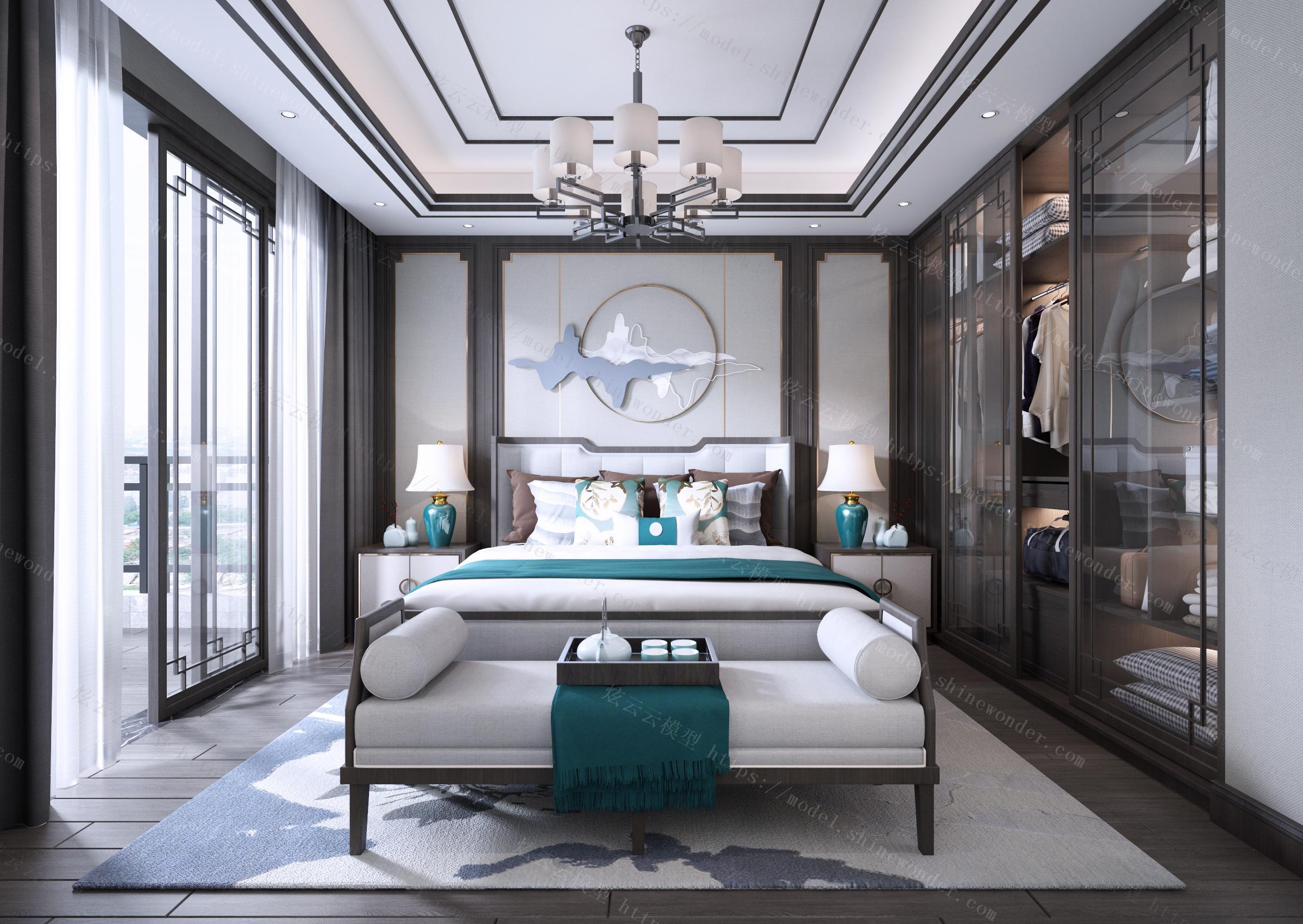 新中式卧室效果图模型