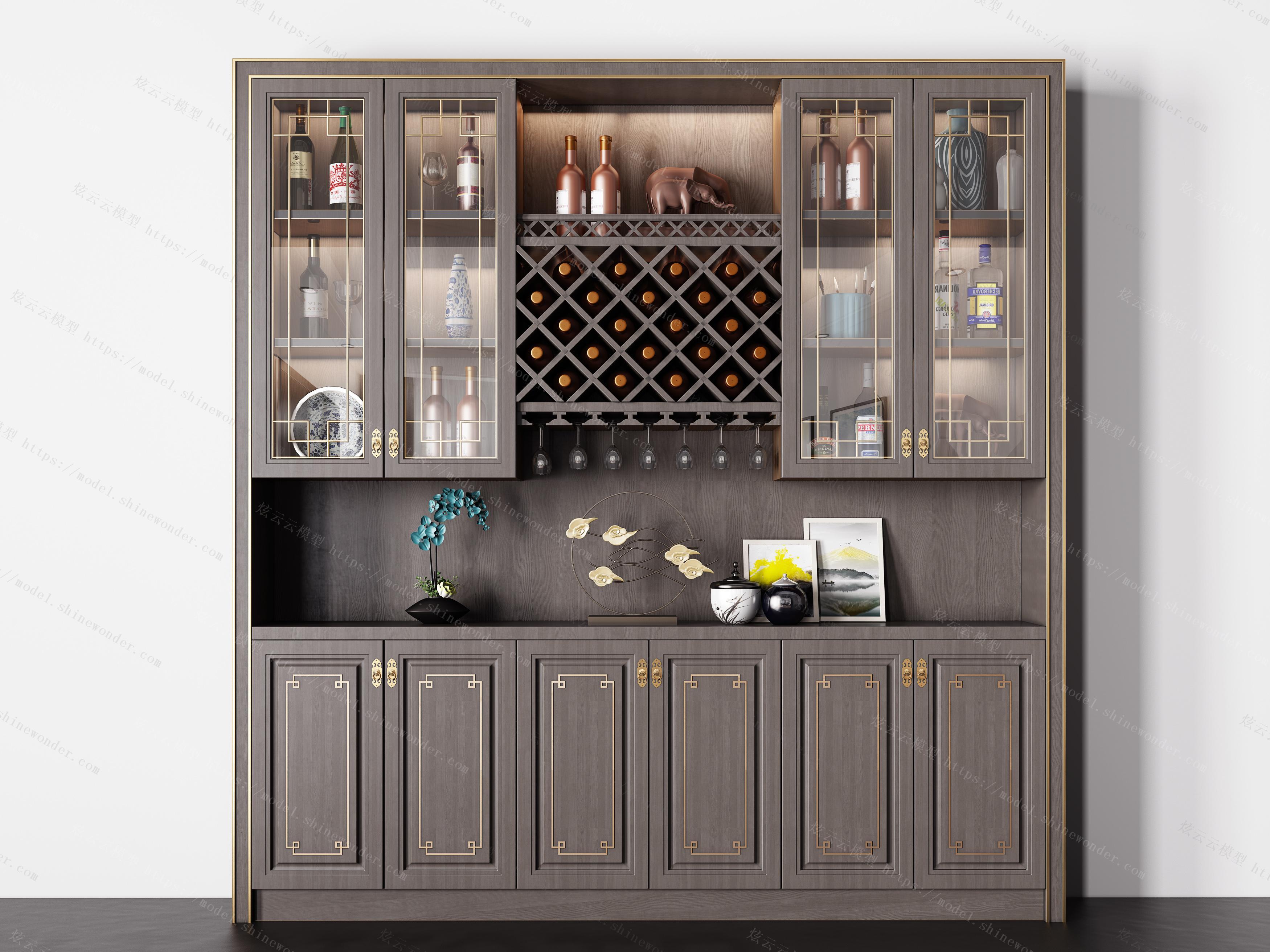 新中式实木酒柜摆件组合模型